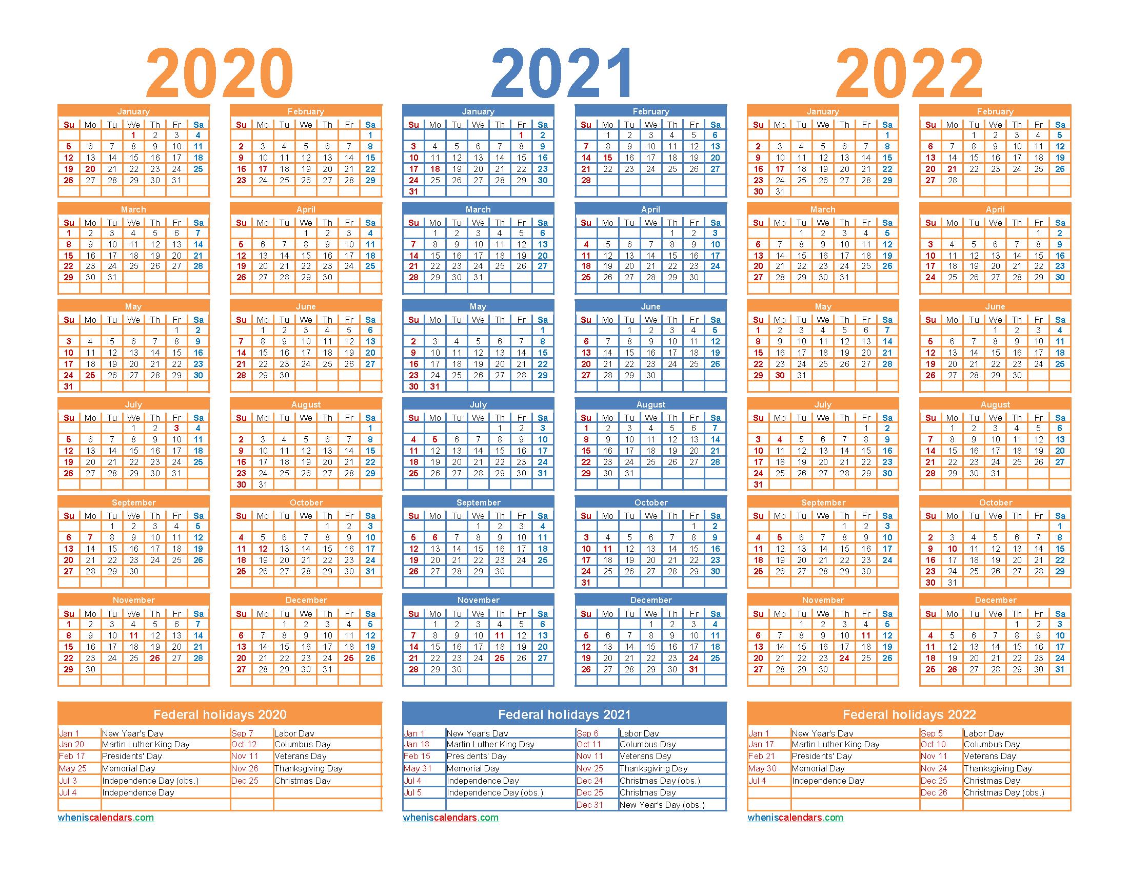 3 Year Calendar 2020 To 2022 Printable – Free Printable 2020 for 3 Year Calendar 2020