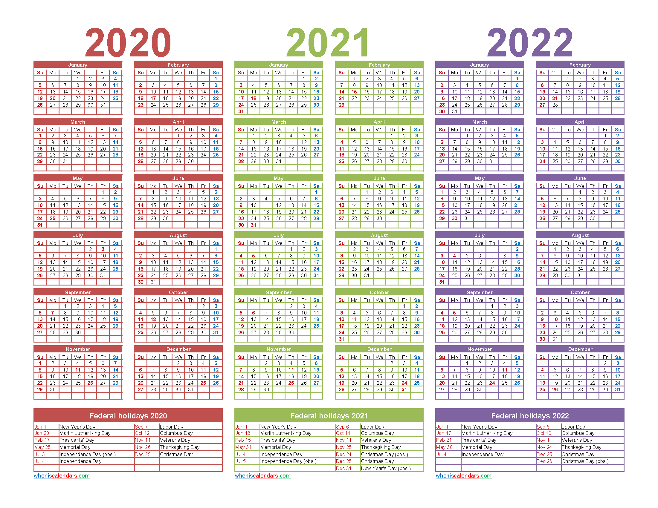 3 Year Calendar 2020 To 2022 Printable – Free Printable 2020 for Three Year Printable Calendar 2020 To 2023