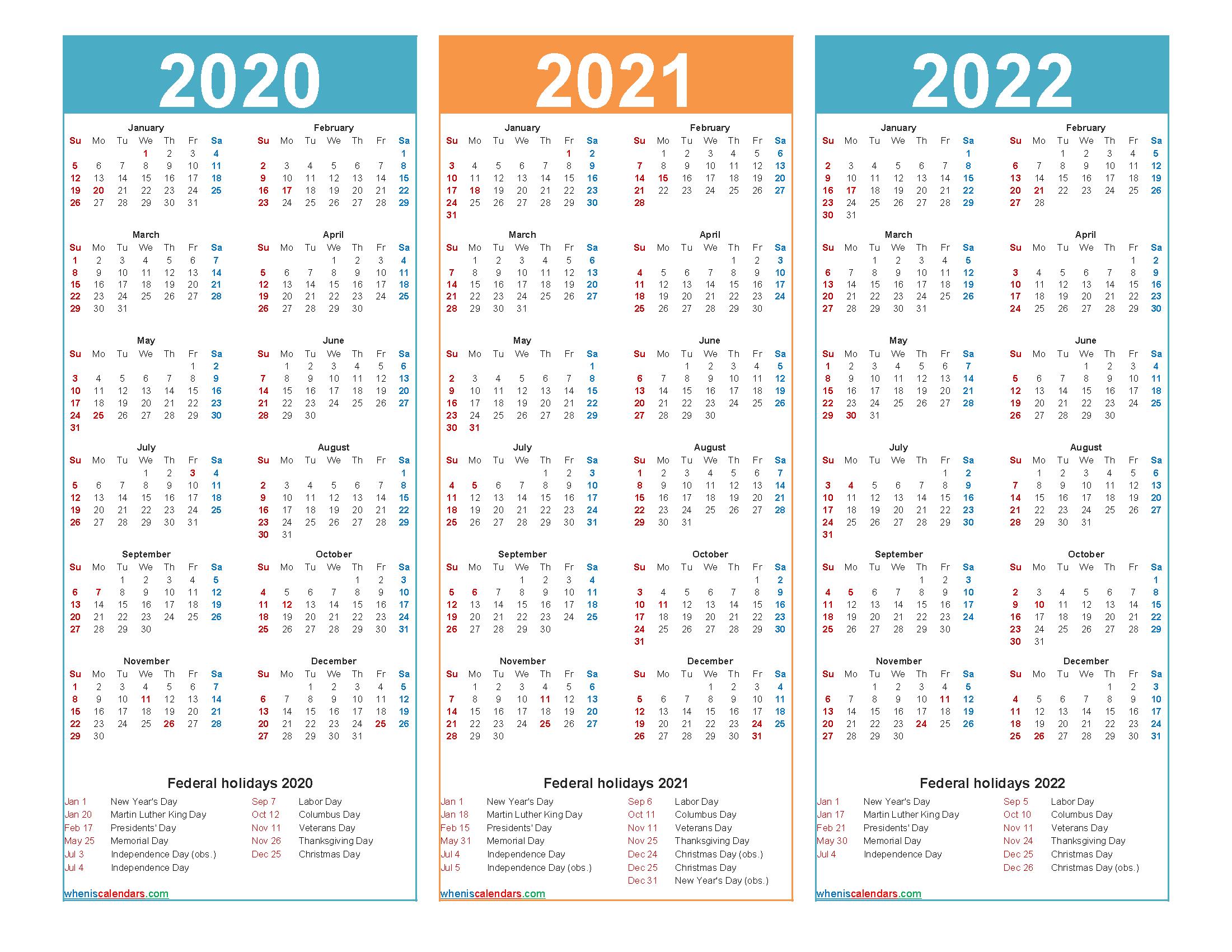 3 Year Calendar 2020 To 2022 Printable – Free Printable 2020 pertaining to 3 Year Calendar 2020