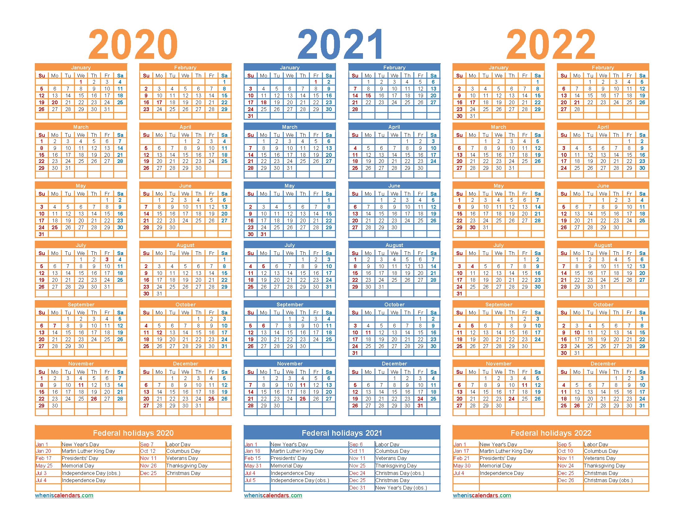 3 Year Calendar 2020 To 2022 Printable – Free Printable 2020 regarding Three Year Printable Calendar 2020 To 2023