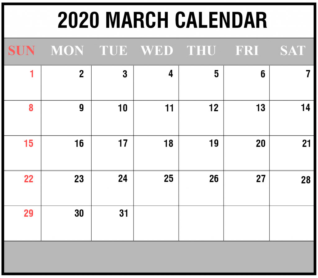 35+ Free Fillable Calendar For March 2020 Printable Editable regarding Free Fillable Calendars 2020