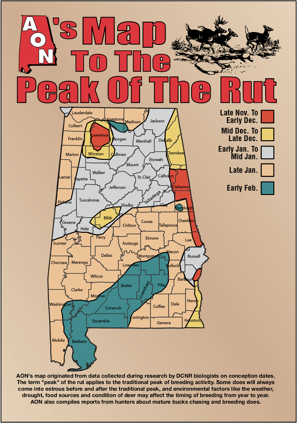 Aon's Map To The Peak Of The Rut in 2020 Rut Predictions Calander