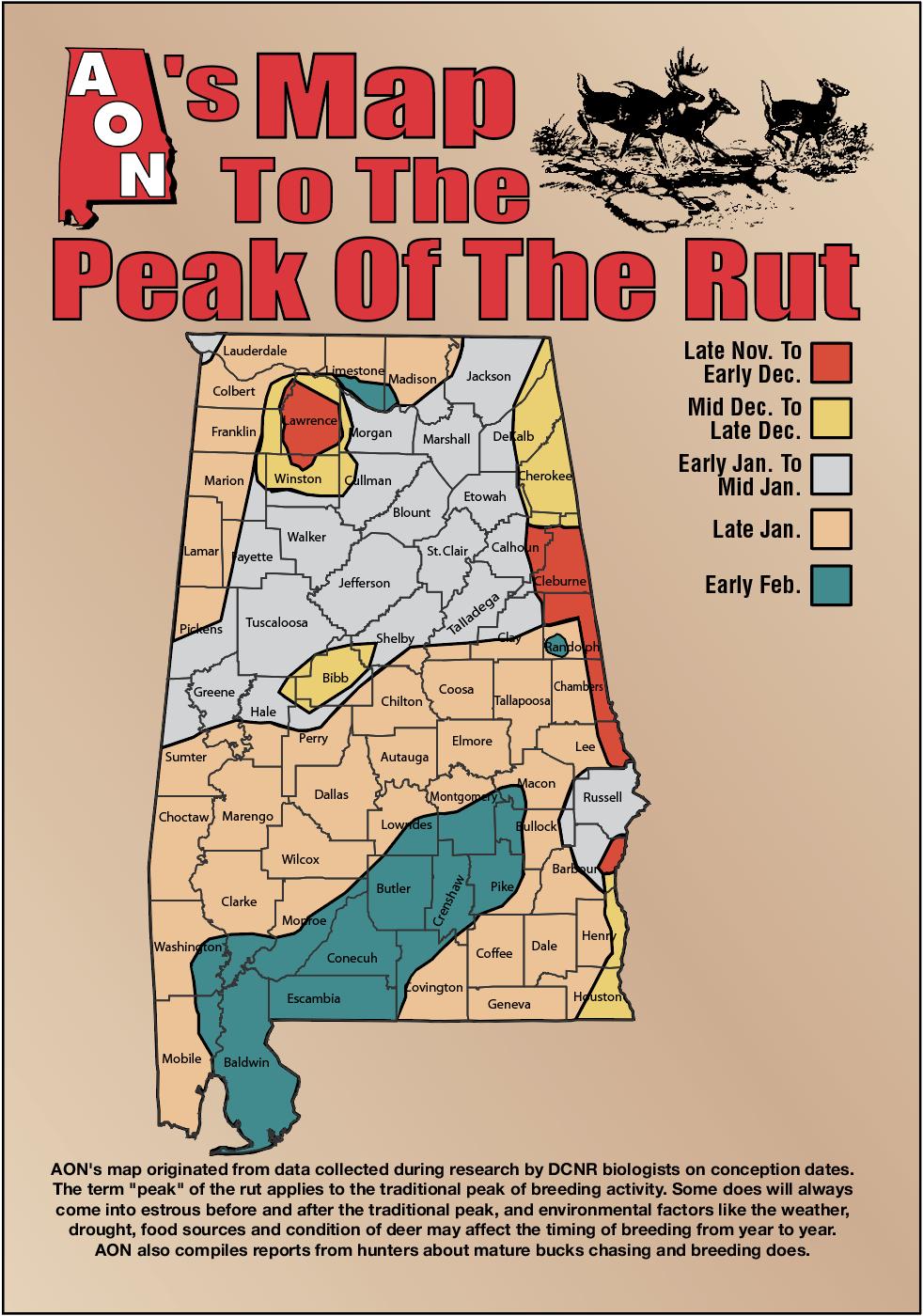 Aon's Map To The Peak Of The Rut regarding Whitetail Rut Calendar 2020