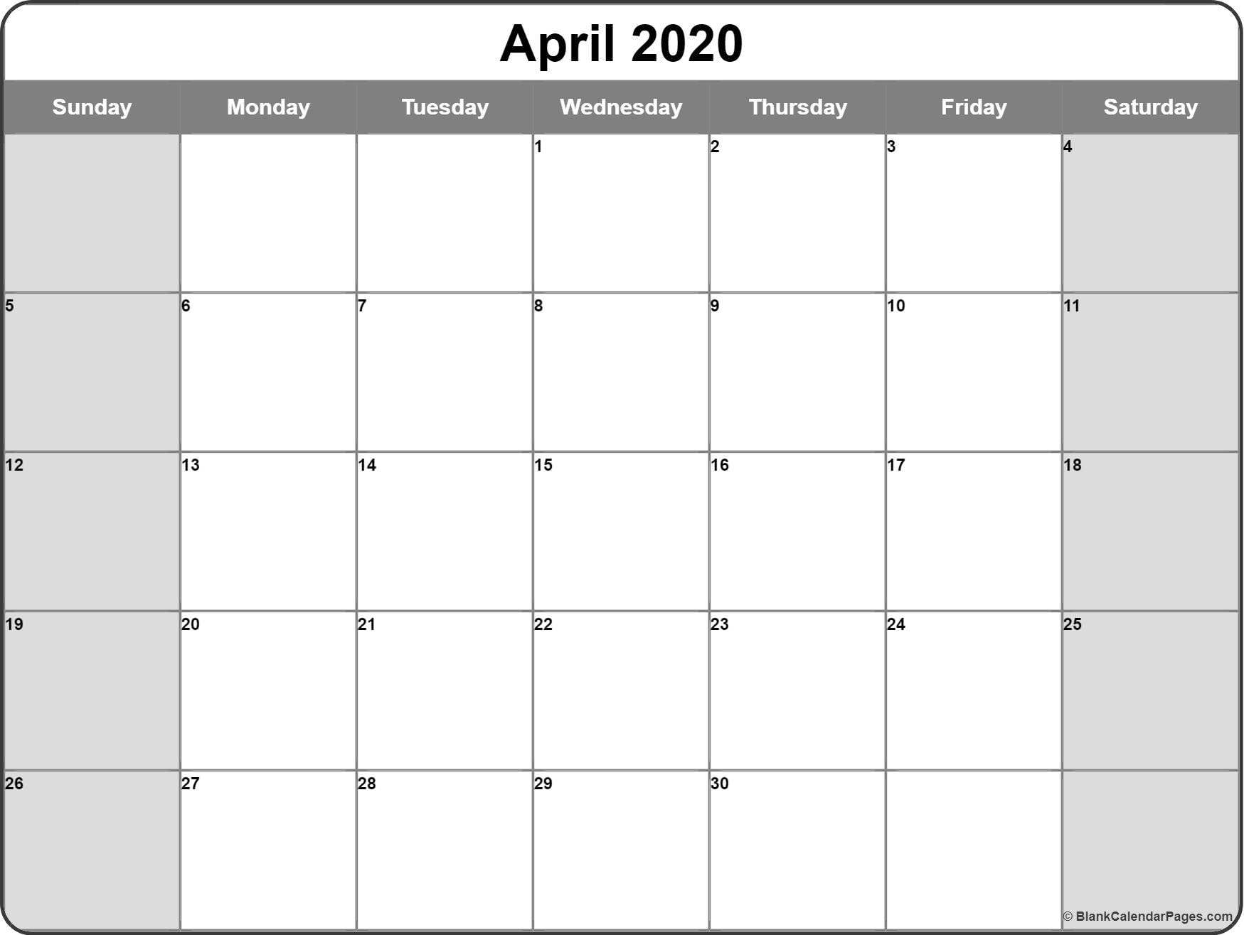 April 2020 Calendar | Free Printable Monthly Calendars intended for Printable Fill In Calendar By Month