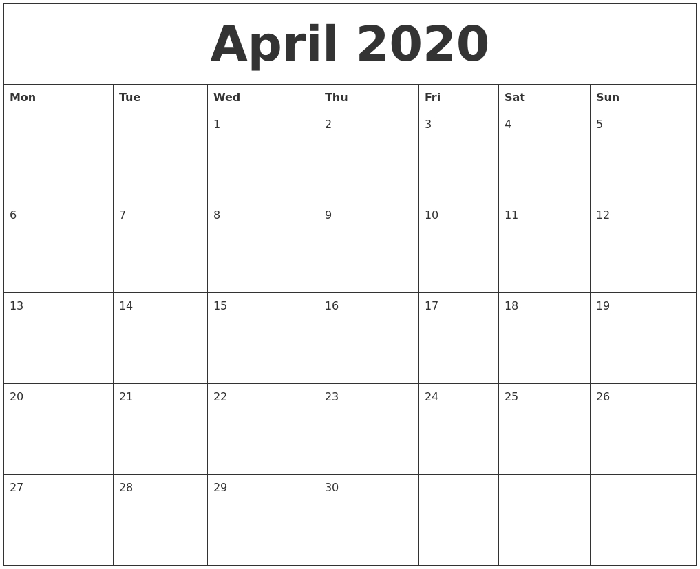 April 2020 Free Monthly Calendar Template regarding Free Blank Printable Monthly Calendar 2020