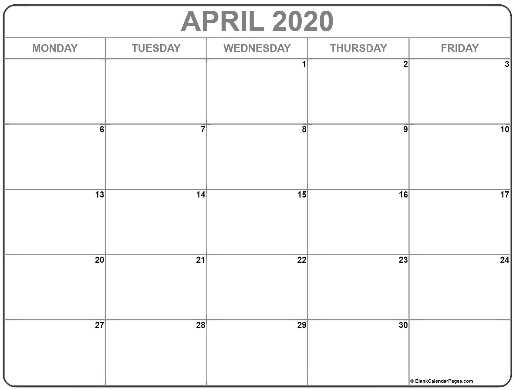 April 2020 Monday Calendar | Monday To Sunday in 2020 Calendar That Shows Only Monday Through Friday