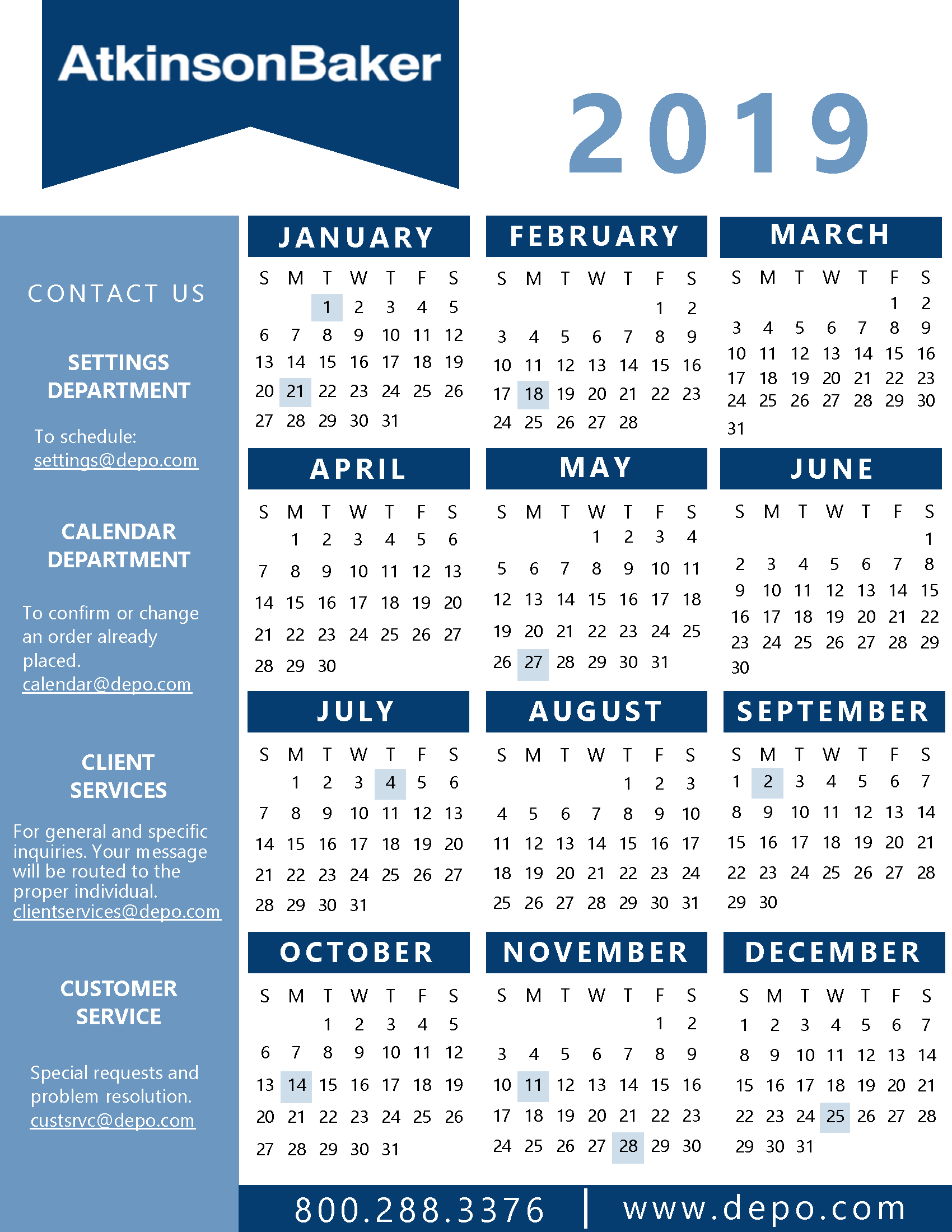 Atkinson-Baker | Calendar And State Holidays intended for Depo Schedule 2020