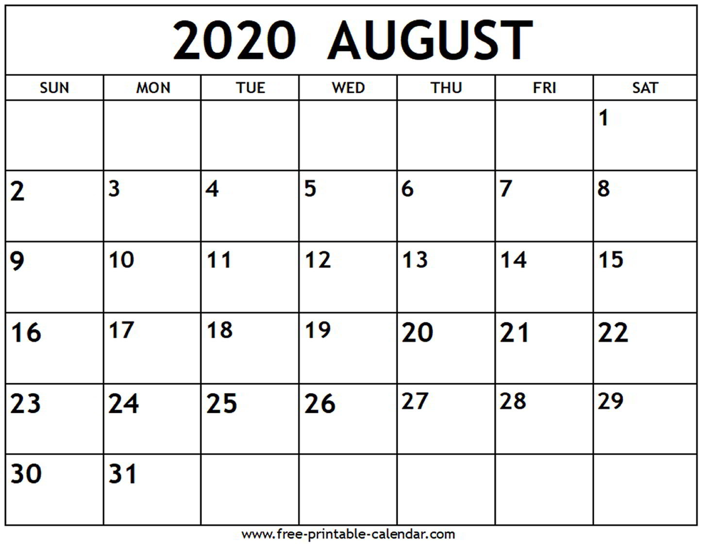 August 2020 Calendar - Free-Printable-Calendar within Free Fill In Calendars 2020