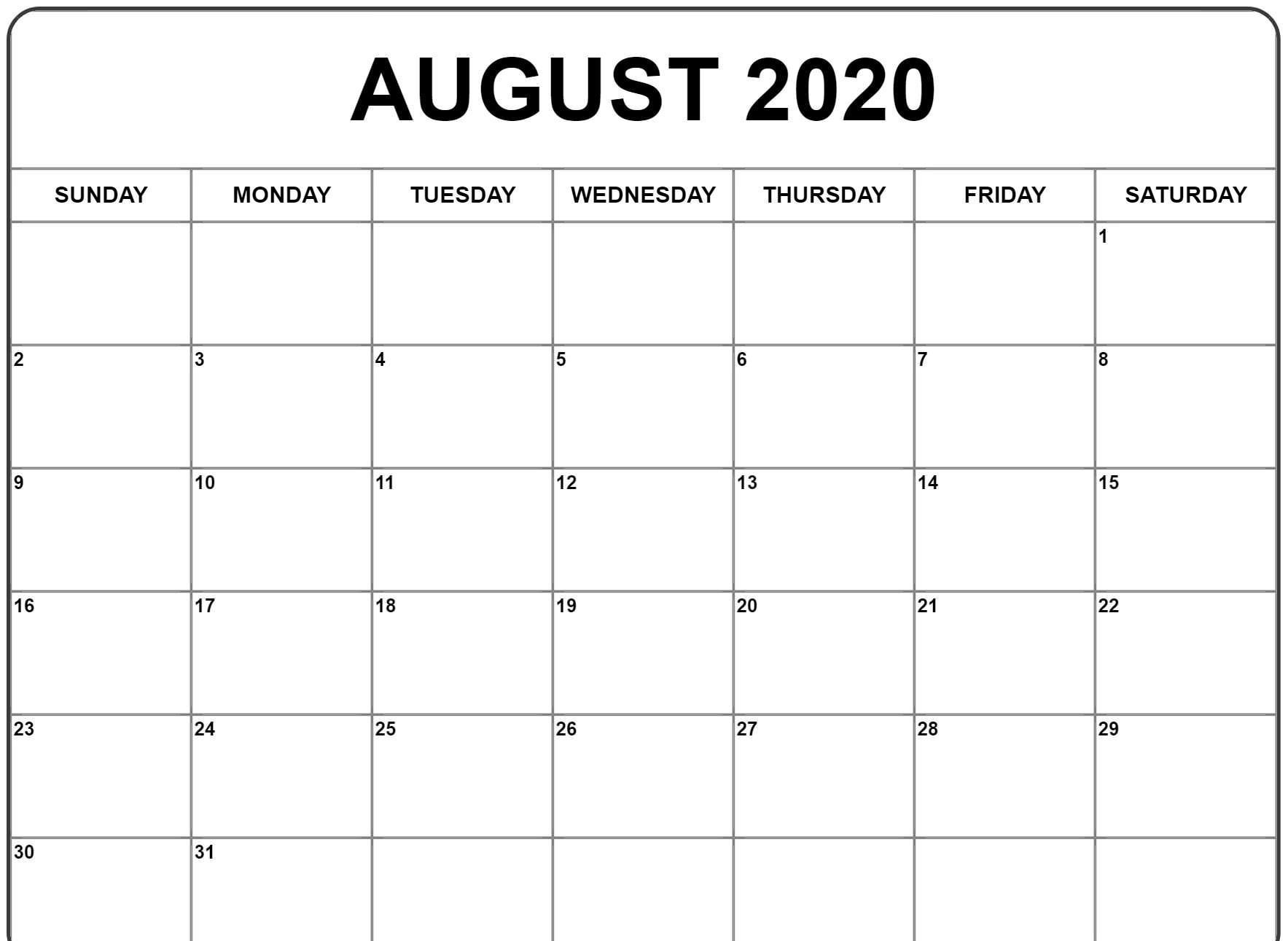 August 2020 Calendar Template In 2020 | 2020 Calendar with regard to 2020 Calendar To Fill In