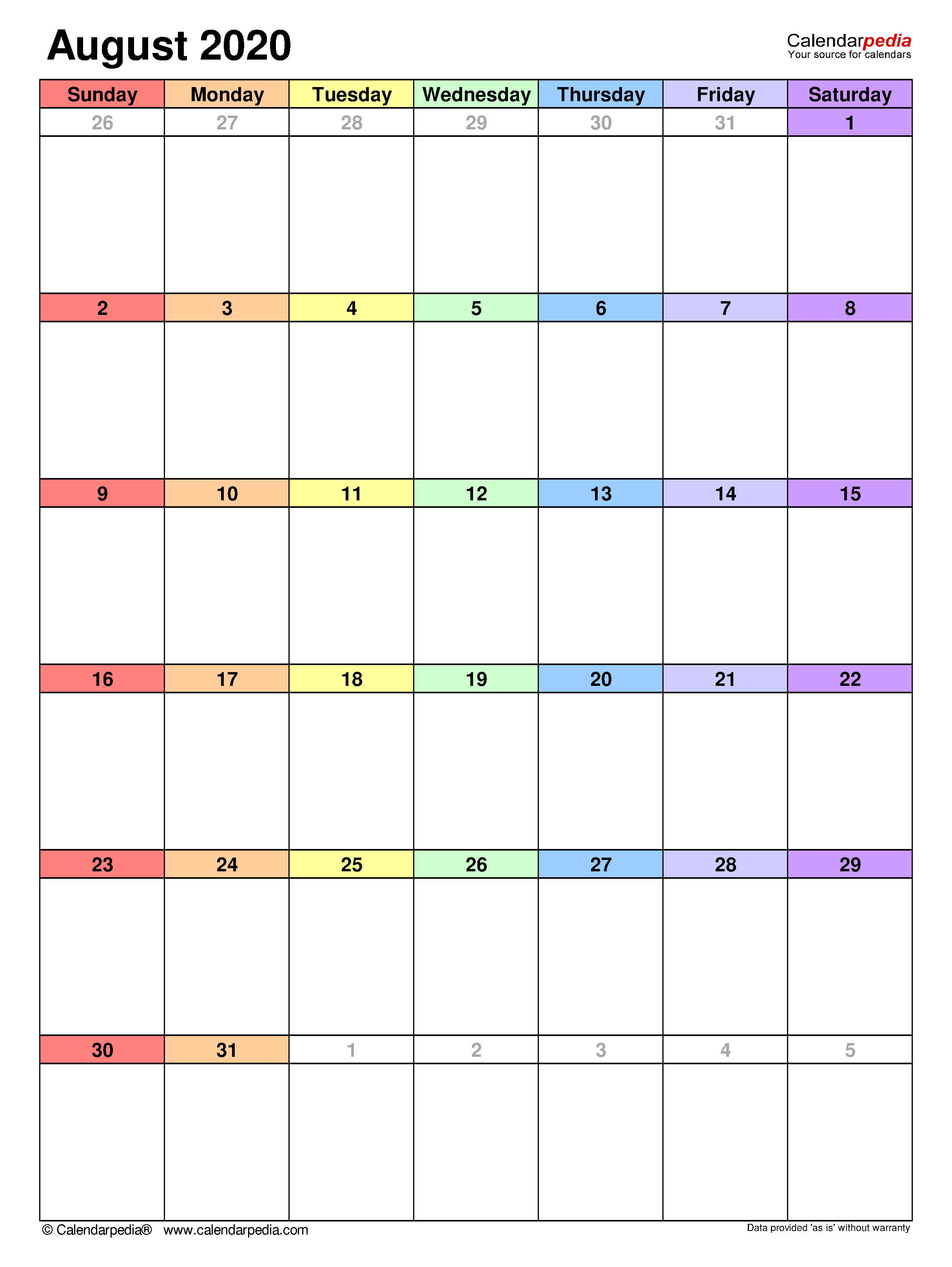 August 2020 - Calendar Templates For Word, Excel And Pdf for 2020 Calendar To Fill In