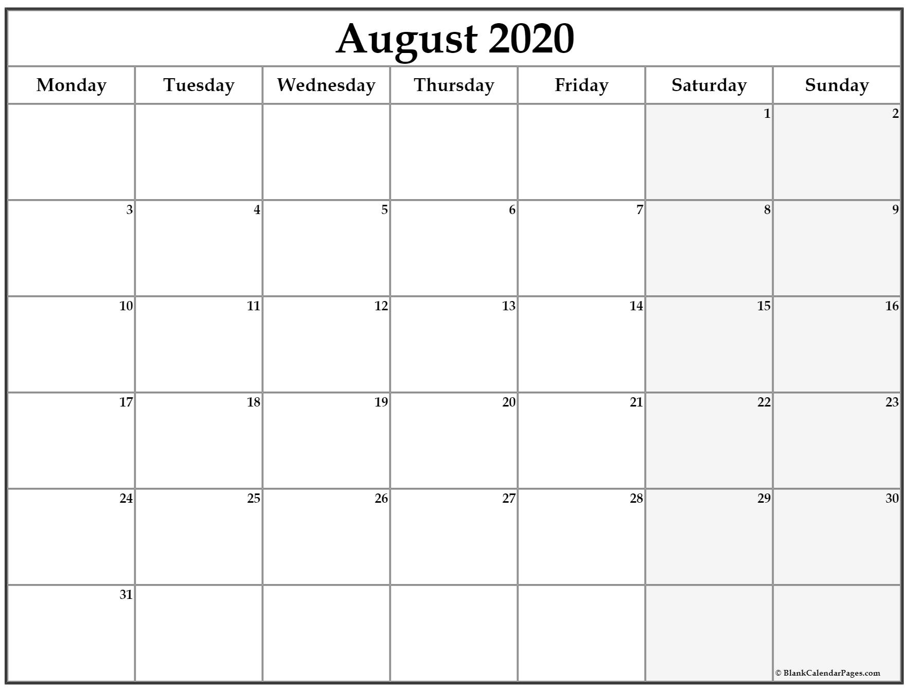 August 2020 Monday Calendar | Monday To Sunday regarding Sunday To Saturday Calendar 2020 Printable