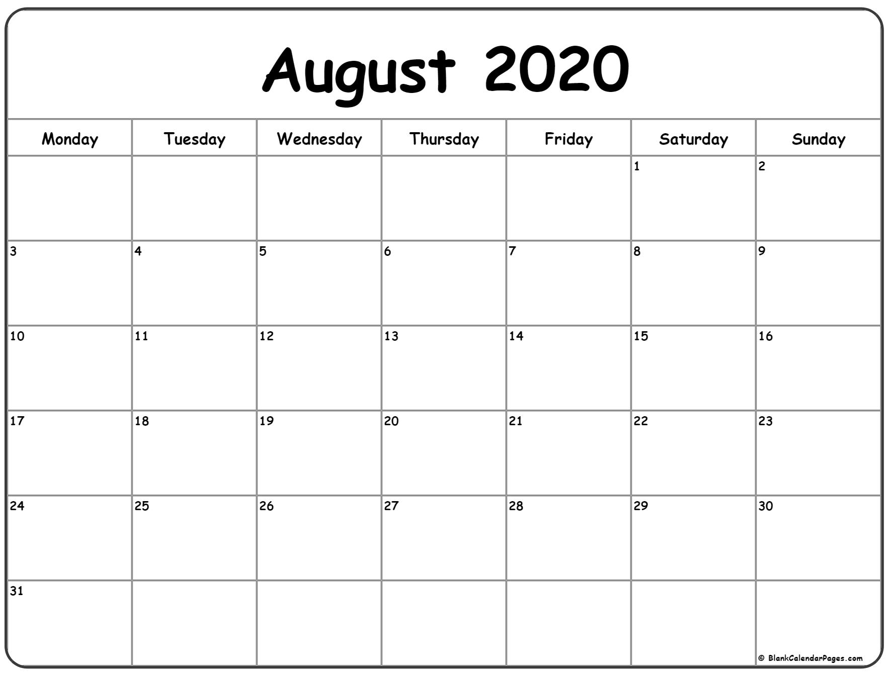 August 2020 Monday Calendar | Monday To Sunday within Sunday Through Saturday Calendar