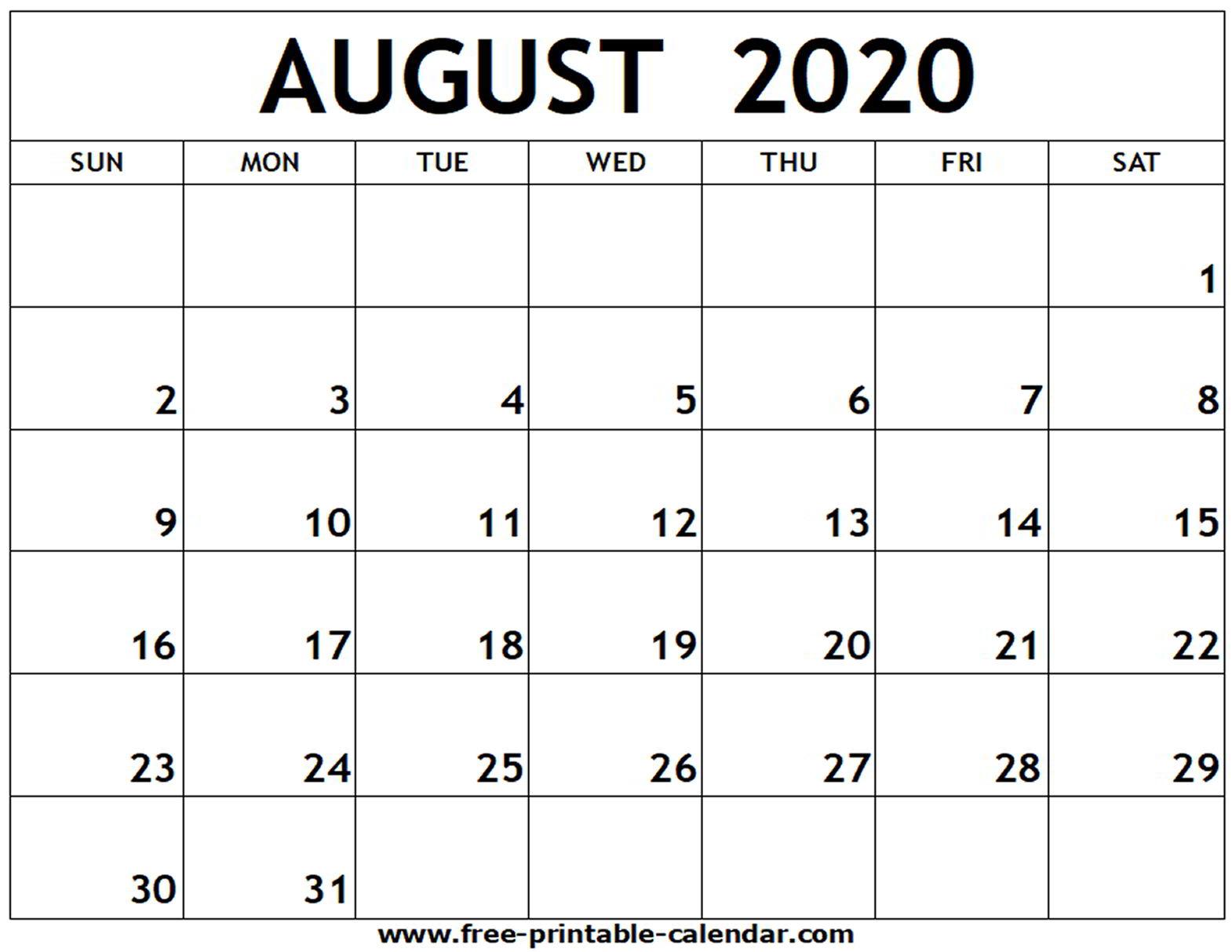August 2020 Printable Calendar - Free-Printable-Calendar throughout Fill In Calendar Printable 2020