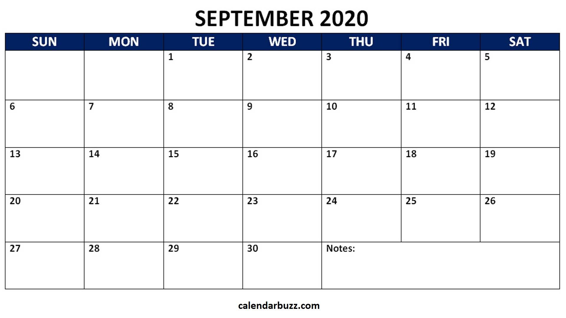 Blank 2020 Calendar Printable Monthly Word Templates inside September Fill In Calendar 2020