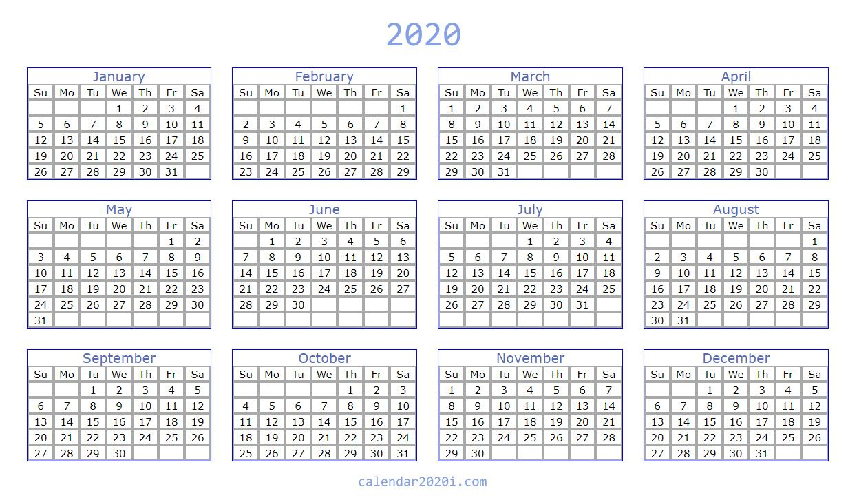 Blank 2020 Calendar Printable Templates | Calendar 2020 inside 2020 Calendar To Fill In