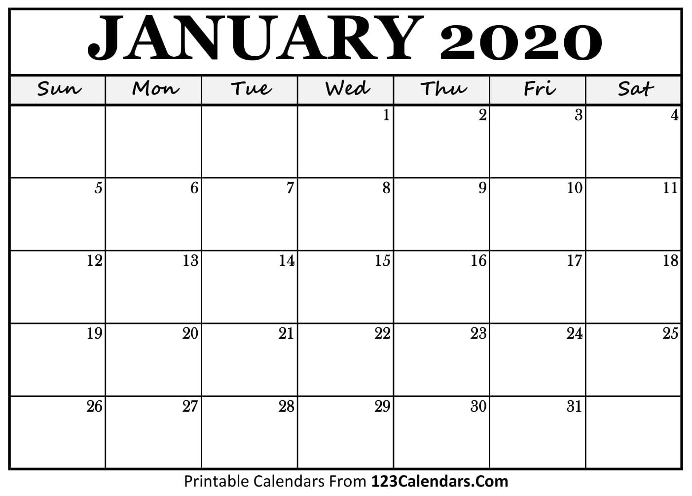 Blank Calendar 2020 Printable | Free Printable Calendar with regard to Free Blank Printable Monthly Calendar 2020