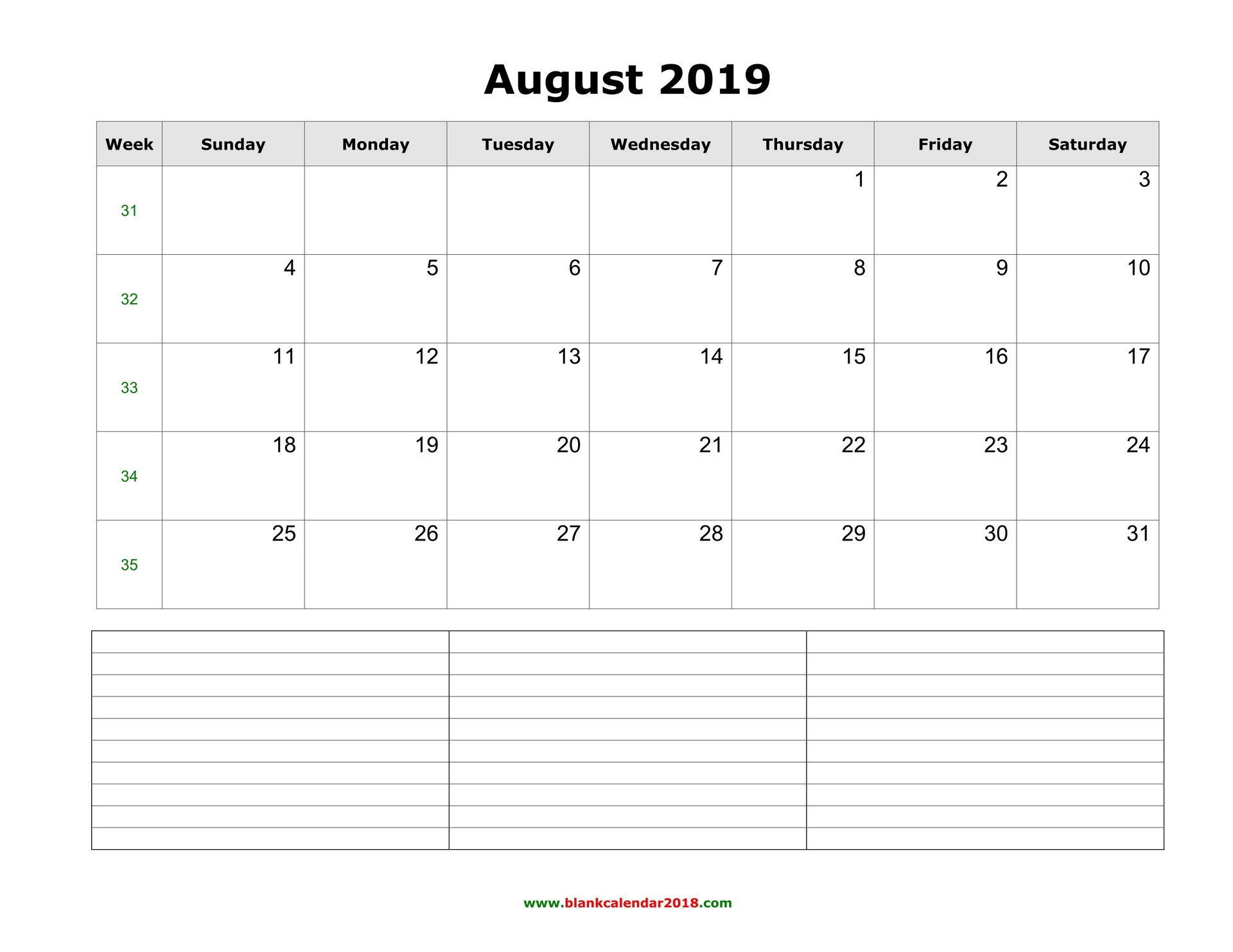 Blank Calendar For August 2019 with regard to Printable Fill In Calendar By Month
