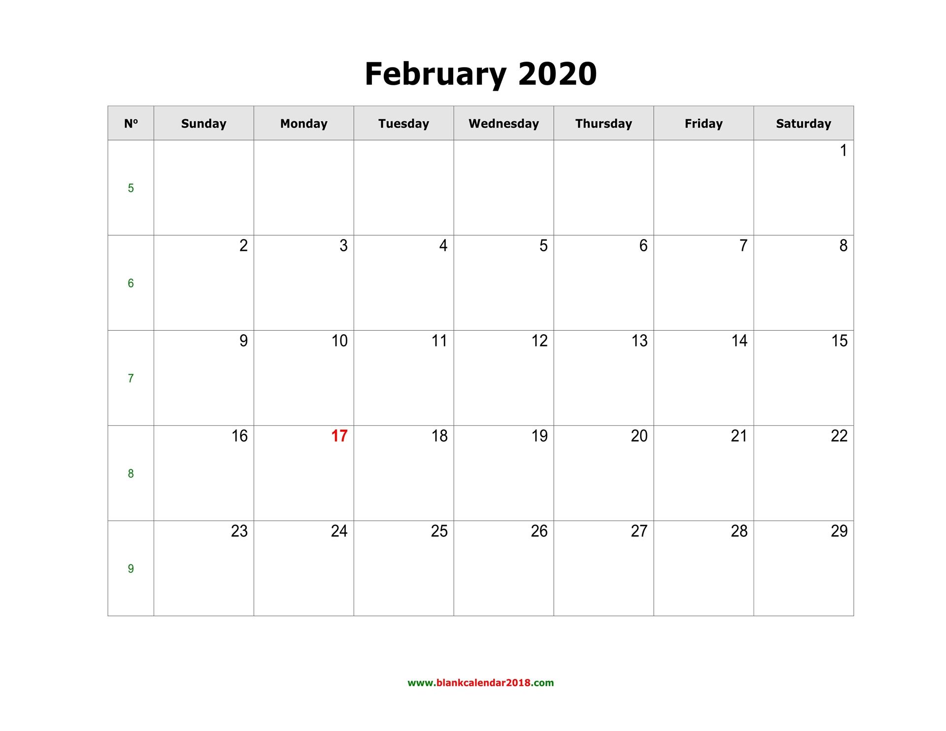 Blank Calendar For February 2020 inside Fill In Calendar Printable 2020