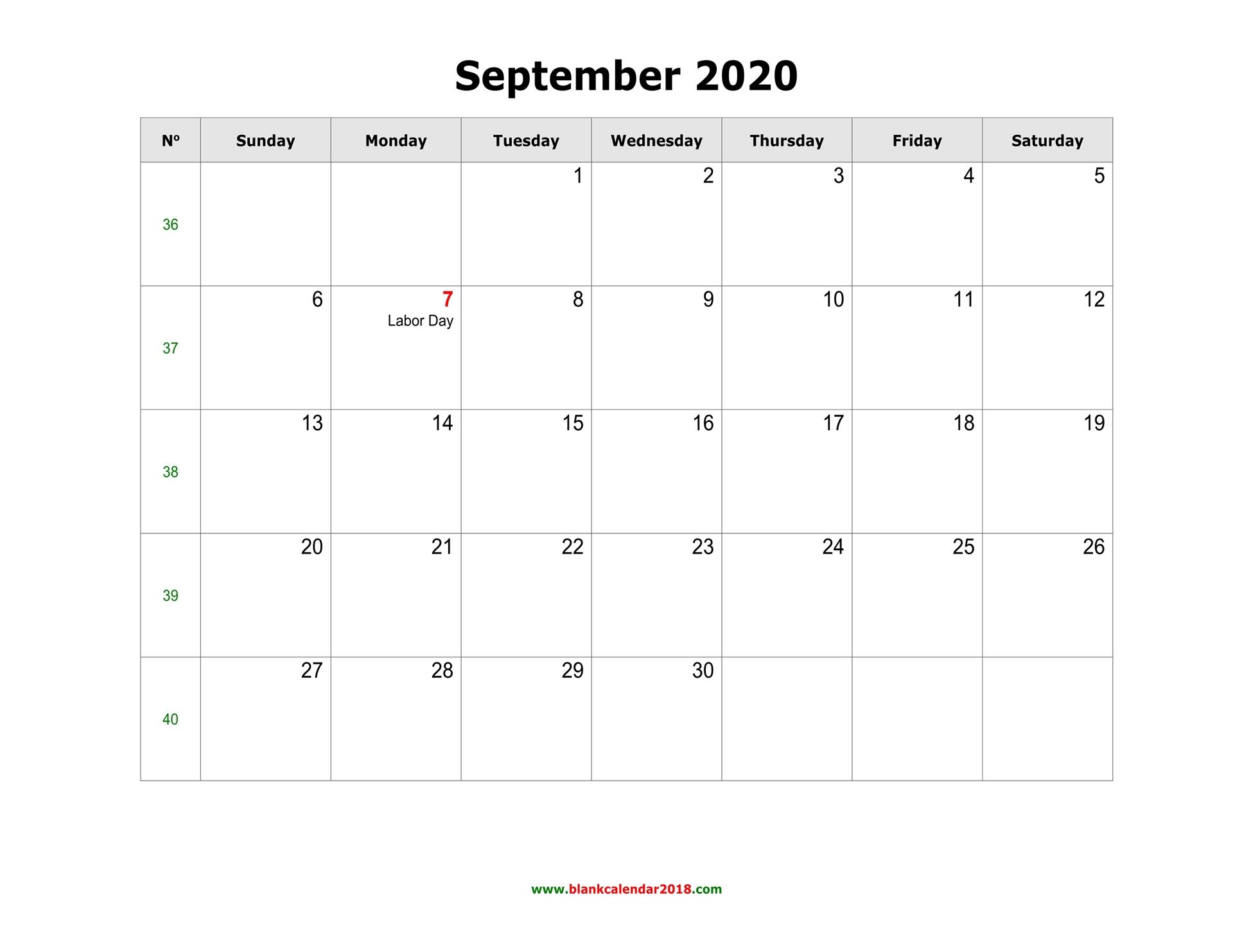Blank Calendar For September 2020 inside September Fill In Calendar 2020