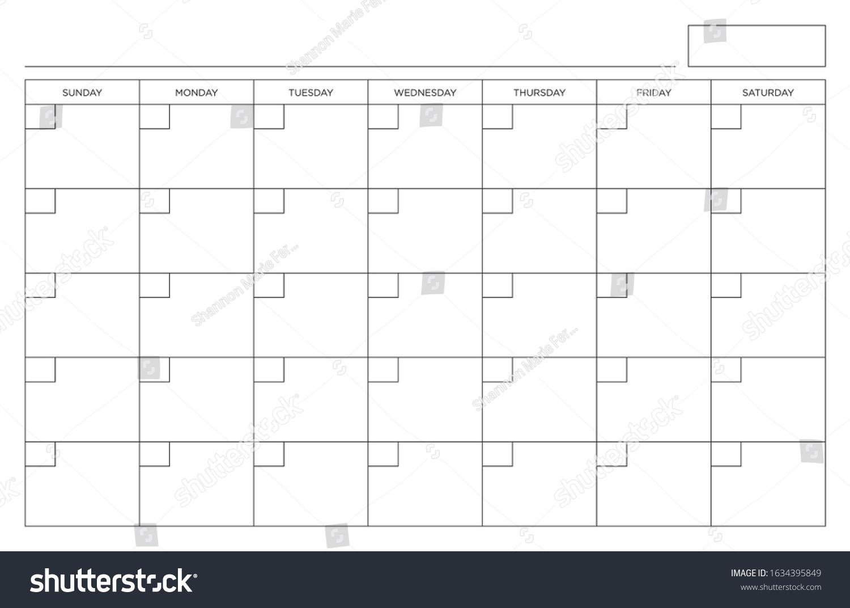 Blank Calendar Page Sunday Through Saturday Stock Vector pertaining to Sunday Through Saturday Calendar