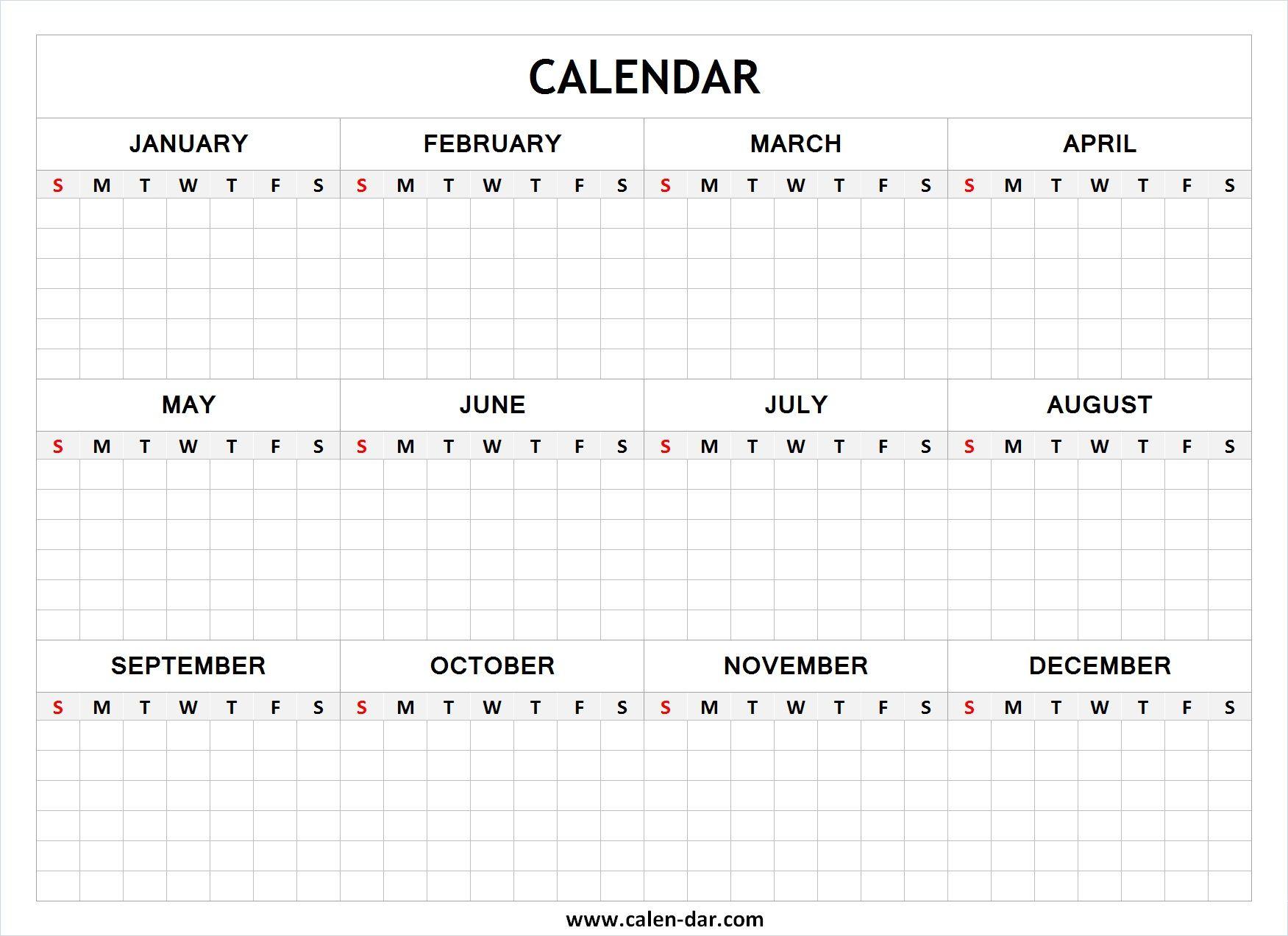 Blank Year Calendar | Printable Yearly Calendar, Yearly within Printable Yearly Calendar With Boxes