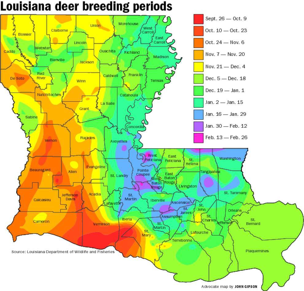 Buck Breeding Calendar Most Complete Ever | Louisiana for 2020 Rut Predictions Calander
