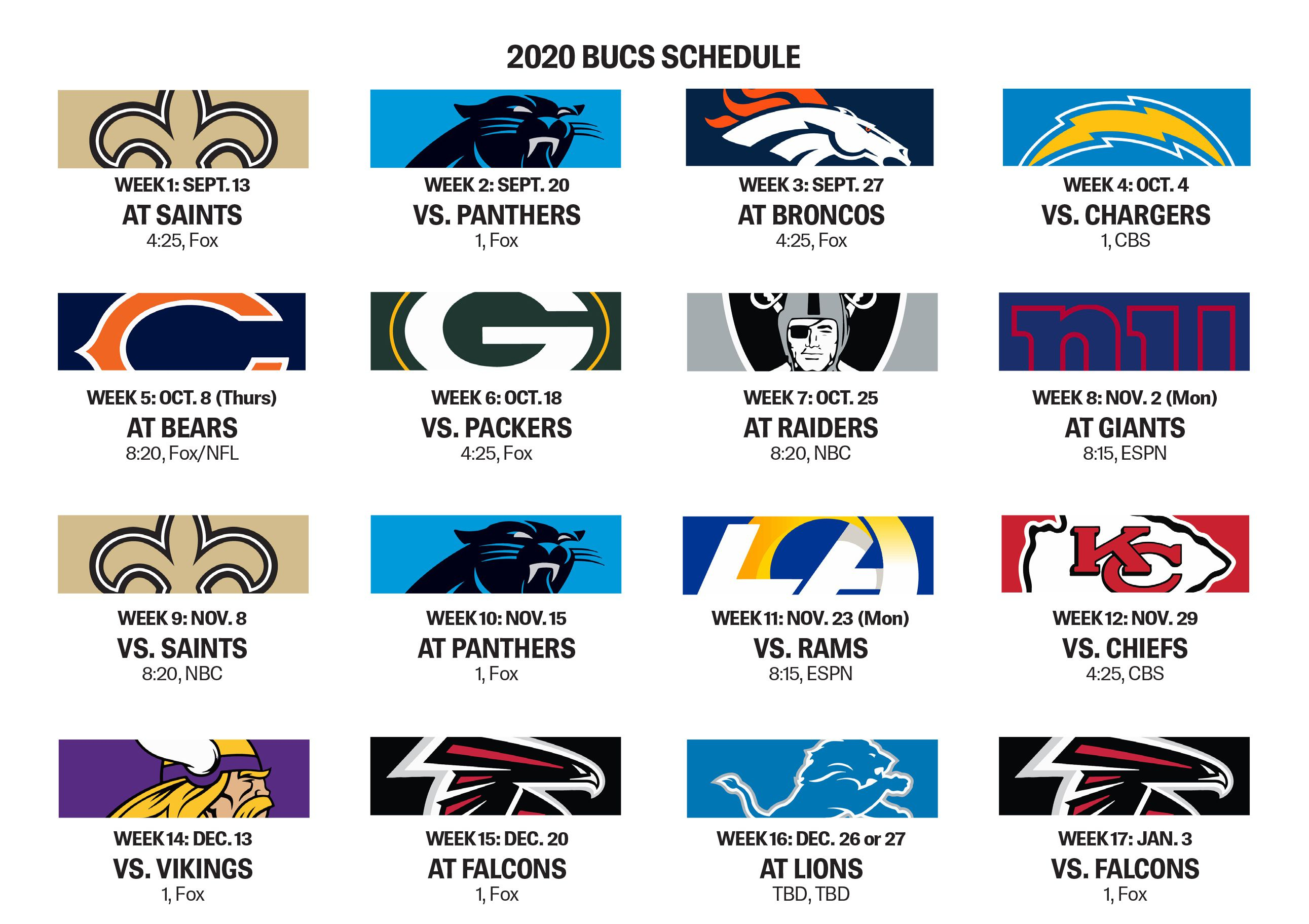 Bucs Open With Saints, Have Five Prime-Time Games Slated in 2020 Nfl Schedule Printable