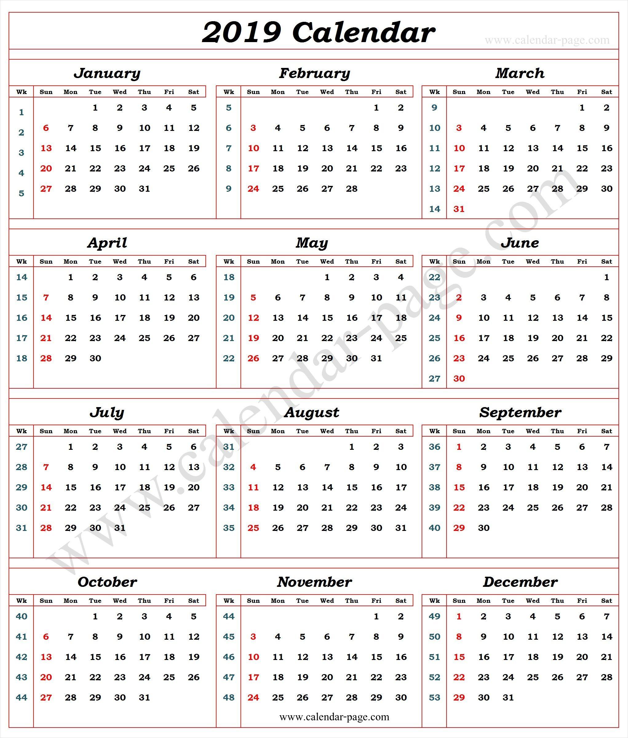 Calendar 2019 With Week Numbers | Calendar With Week Numbers throughout Yearly Week Number Calendar Excel