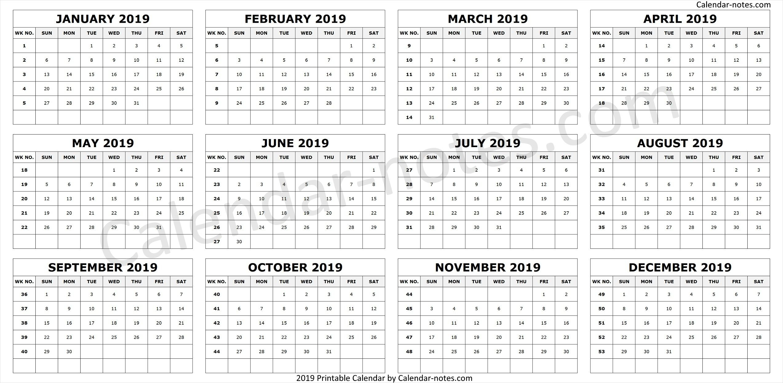 Calendar 2019Week Numbers | Calendar With Week Numbers throughout Yearly Week Number Calendar Excel