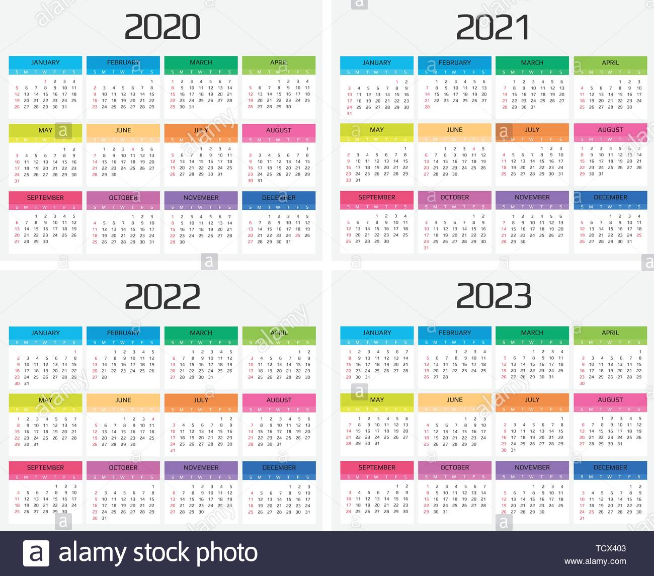 Calendar 2020, 2021, 2022, 2023 Template. 12 Months. Include regarding Three Year Printable Calendar 2020 To 2023