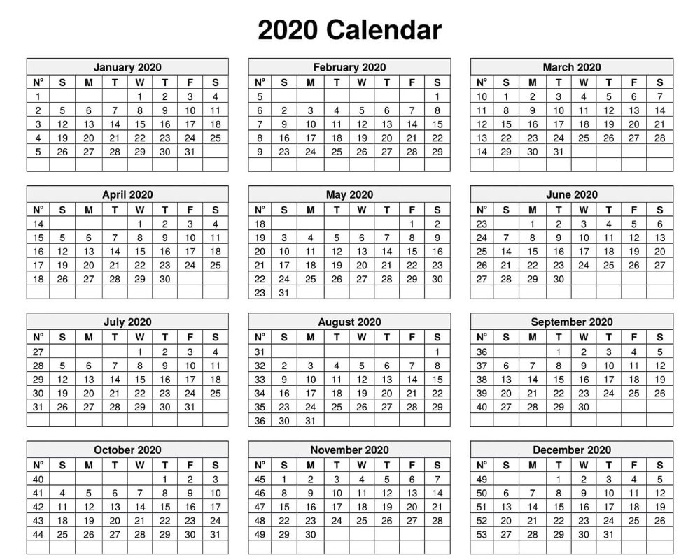 Calendar For 2020 – Edit Your Meeting Date In Box intended for Printable Yearly Calendar With Boxes