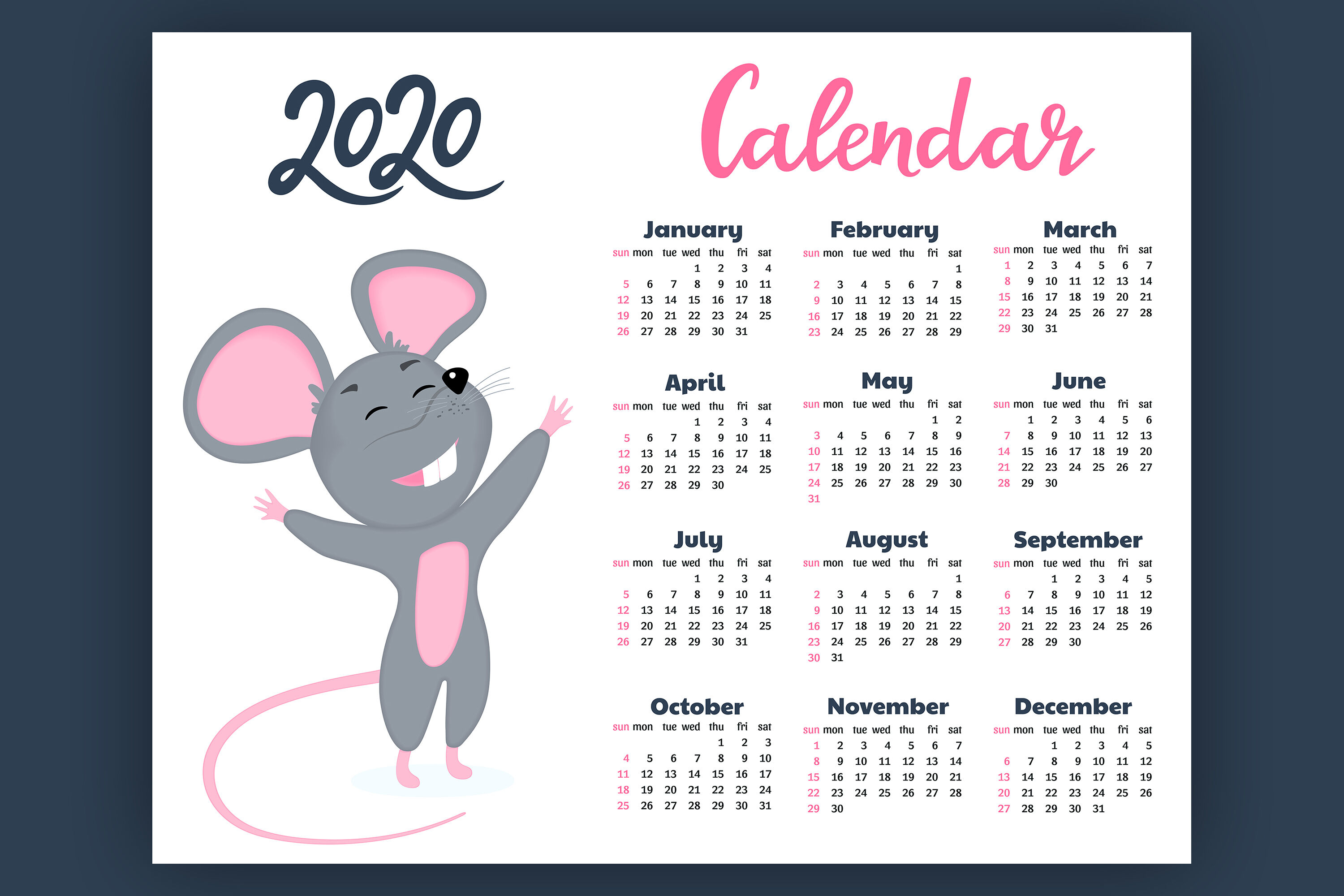 Calendar For 2020 From Sunday To Saturday. Year Of The Rat pertaining to Sunday To Saturday Calendar