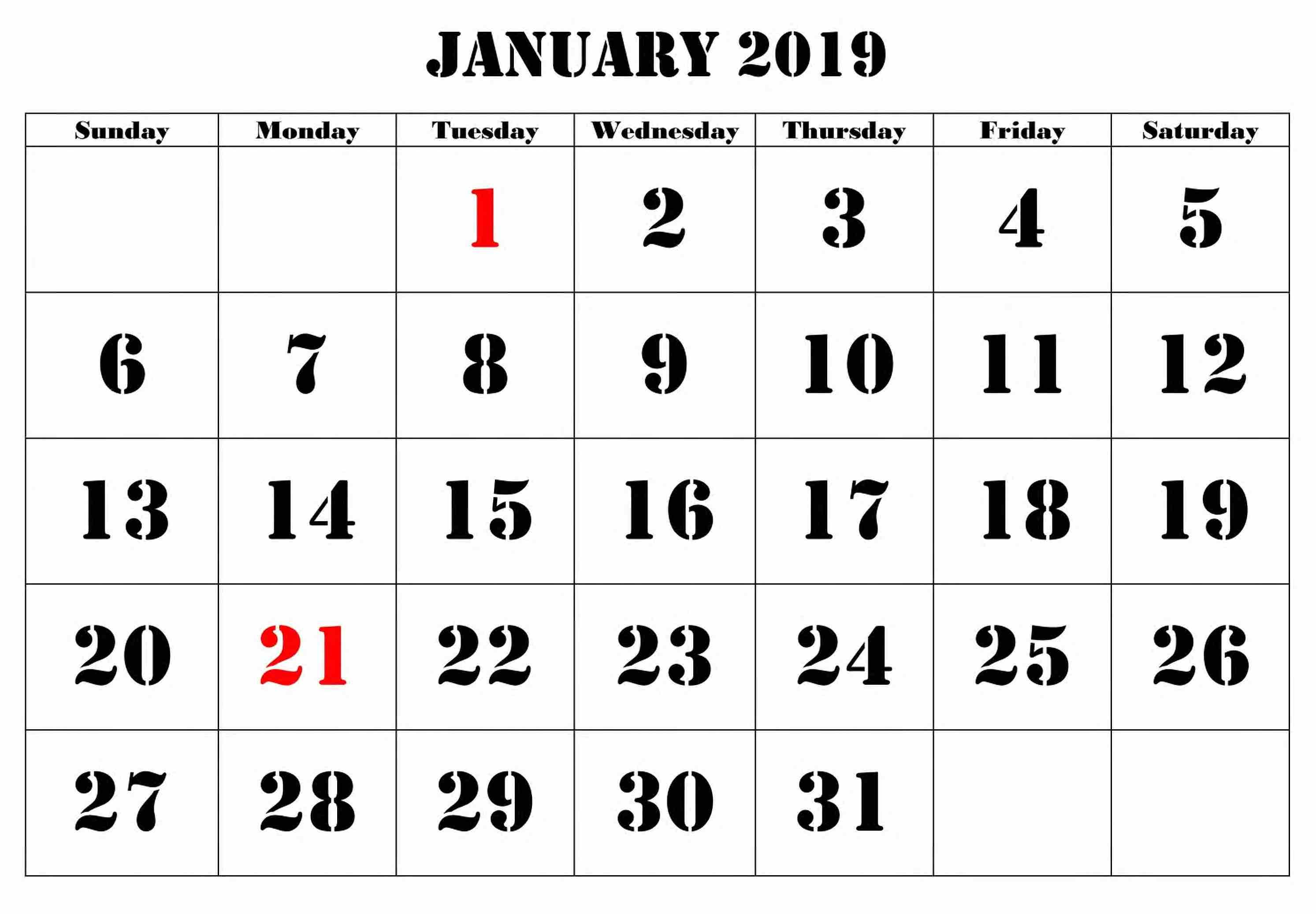 Calendar January 2019 Large Number #januarycalendar in Free Large Number Printable Calendars
