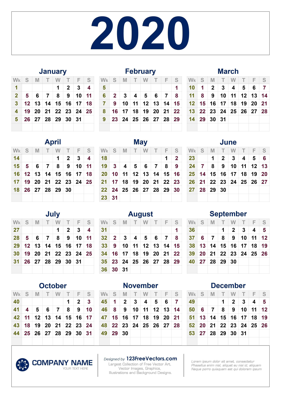 Calendar With Week Numbers - Free Download Printable intended for Yearly Week Number Calendar Excel