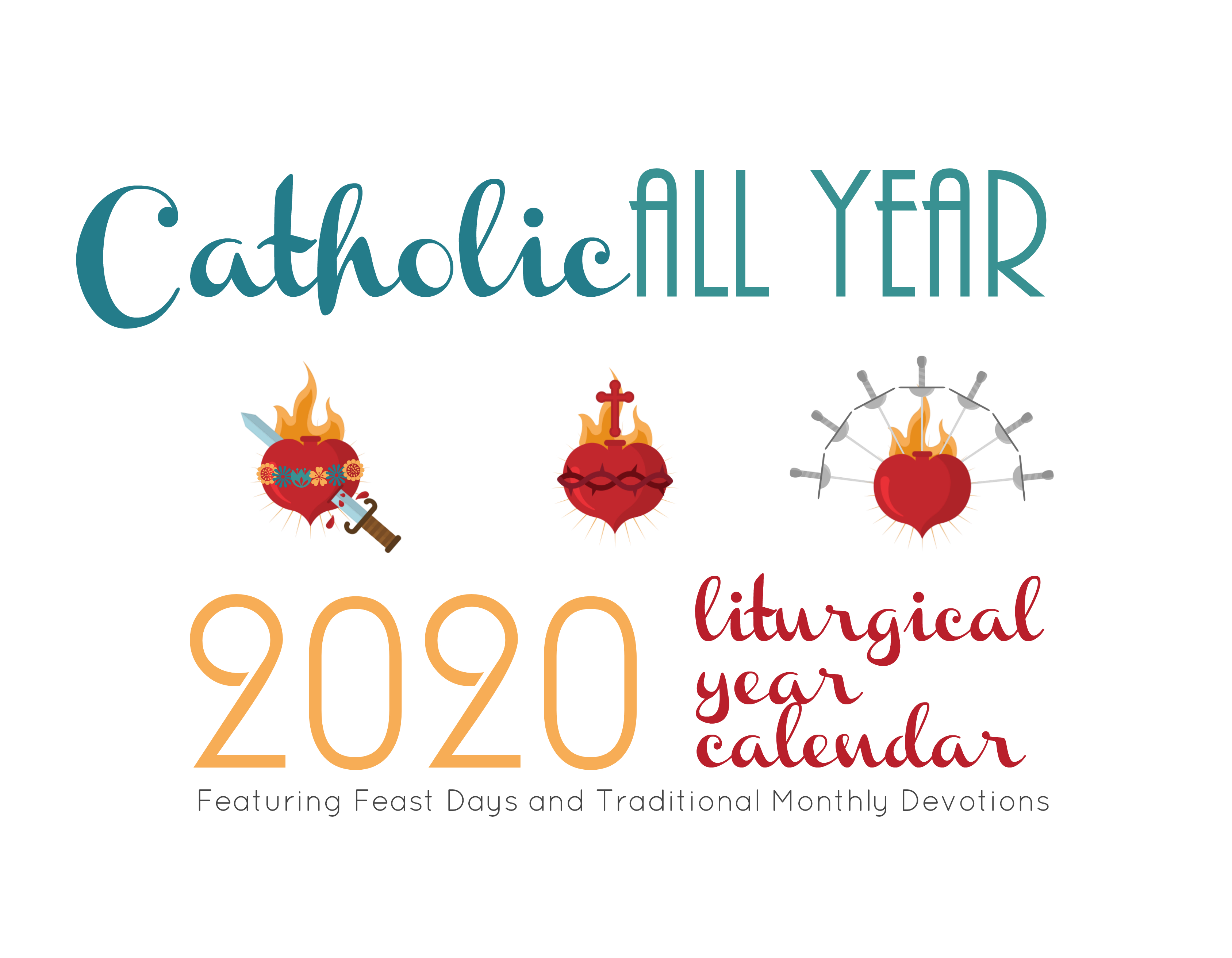 Catholic All Year 2020 Monthly Devotions Liturgical Year Calendar *digital  Download* regarding Printable Monthly Liiturgical Calendar 2020
