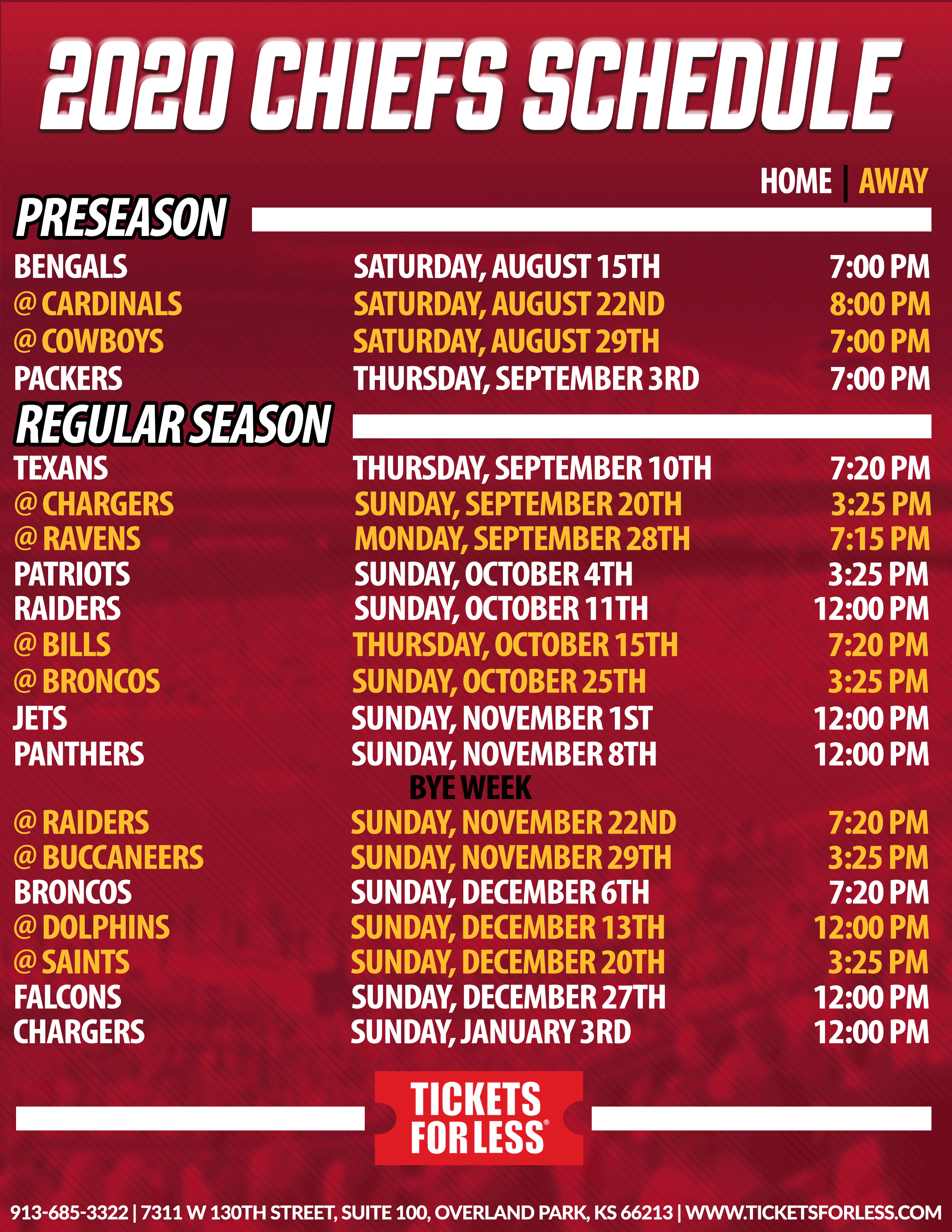 Chiefs Printable Schedule - Kansas City Chiefs Schedule with regard to Printable Nfl Schedule 2020 Season