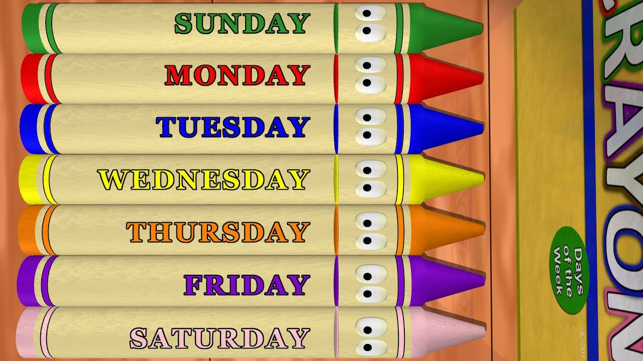 Days Of The Week: Sunday To Saturday With Calendar Crayons pertaining to Sunday To Saturday Calendar