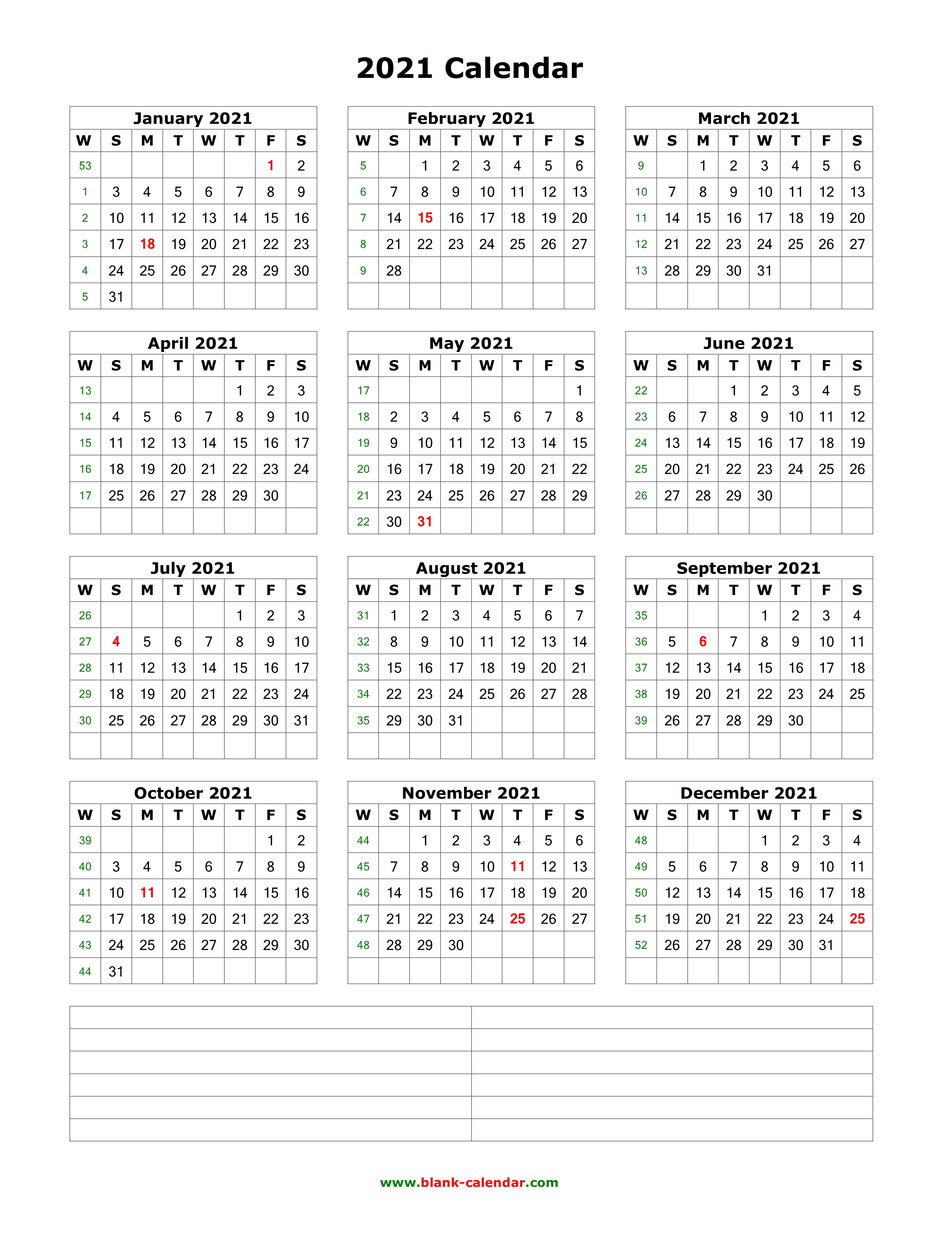 Download Blank Calendar 2021 With Space For Notes (12 Months throughout Sunday Thru Saturday Blank Calendar