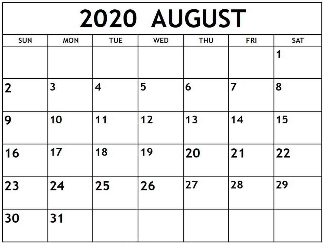 Editable August 2020 Calendar - Free Printable Calendar regarding Free Editable 2020 Calendars