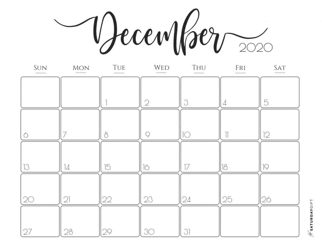 Elegant 2020 Calendar {Free Printables} | Saturdaygift pertaining to Sunday To Saturday Calendar 2020 Printable