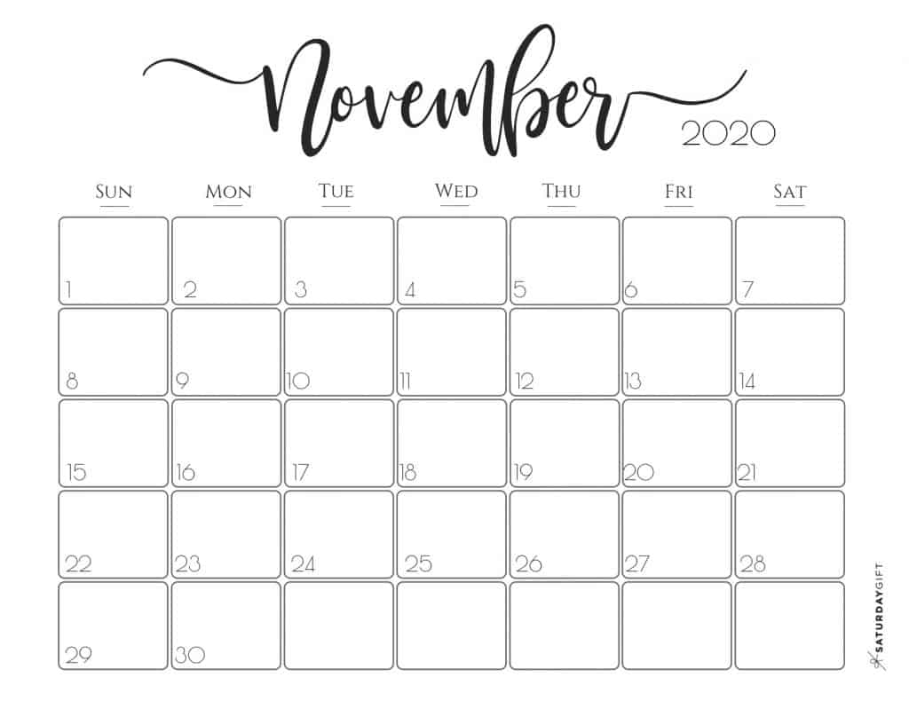 Elegant 2020 Calendar {Free Printables} | Saturdaygift within 2020 Calendar That Shows Only Monday Through Friday