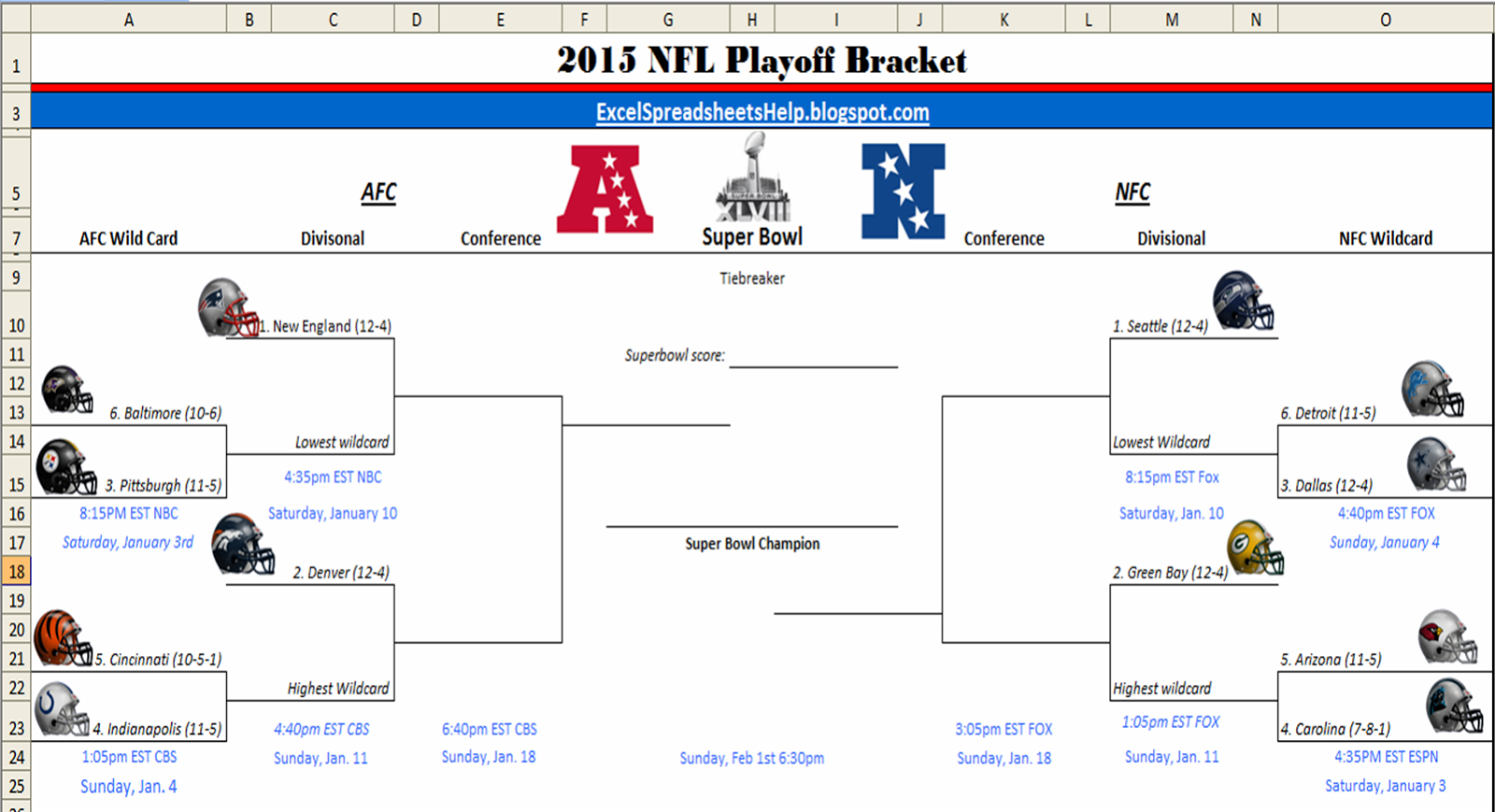 Excel Spreadsheets Help: Printable 2015 Nfl Playoff Bracket inside 1 Page Printable Nfl Schedule