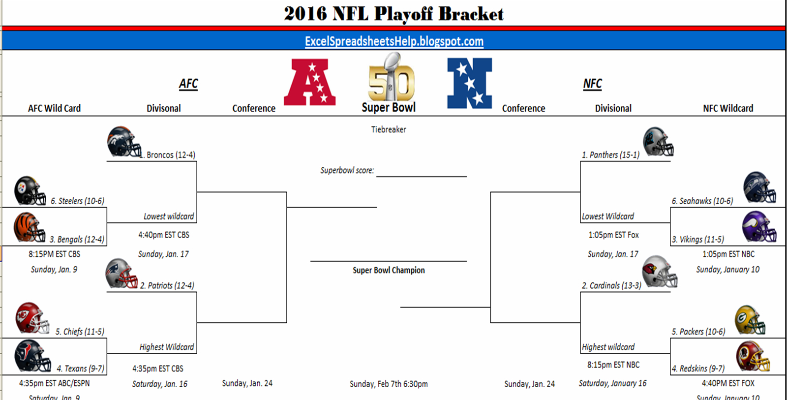 Excel Spreadsheets Help: Printable 2016 Nfl Playoff Bracket pertaining to 1 Page Printable Nfl Schedule