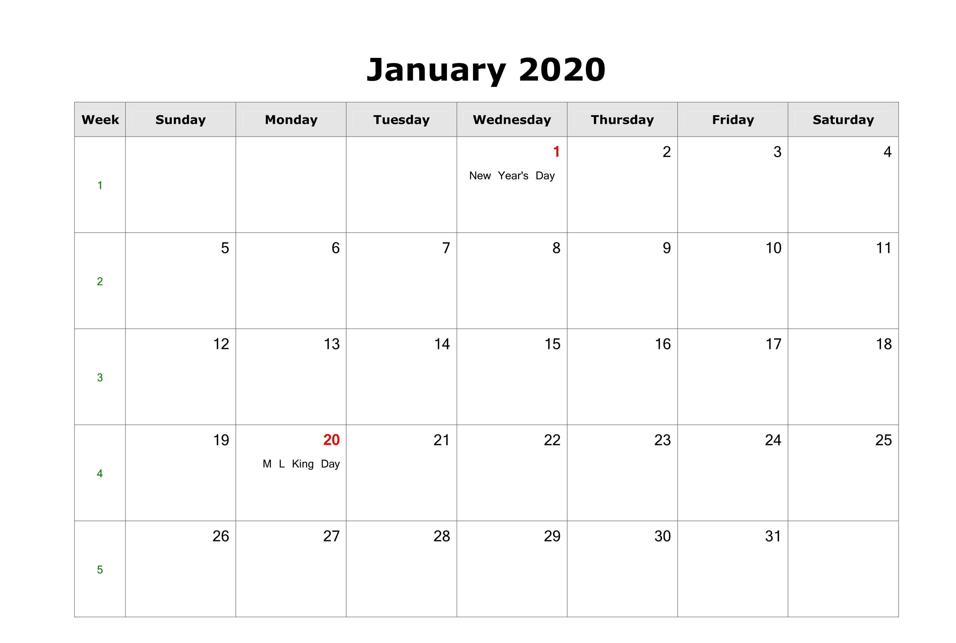 Fillable January Calendar 2020 Printable Editable With Notes for Free Fillable Calendars 2020