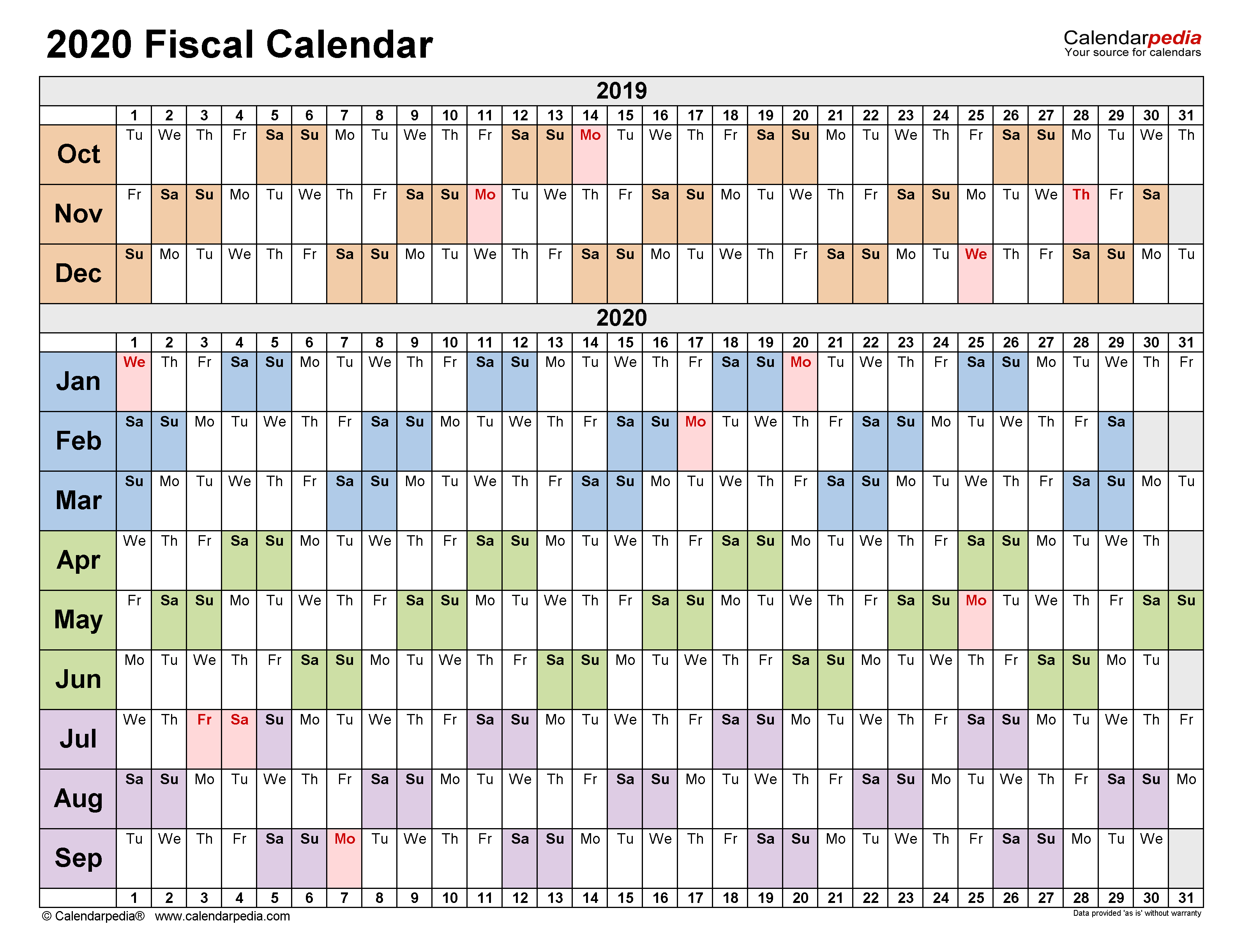 Fiscal Calendars 2020 - Free Printable Pdf Templates in 2021 Payday Working Days Calendar