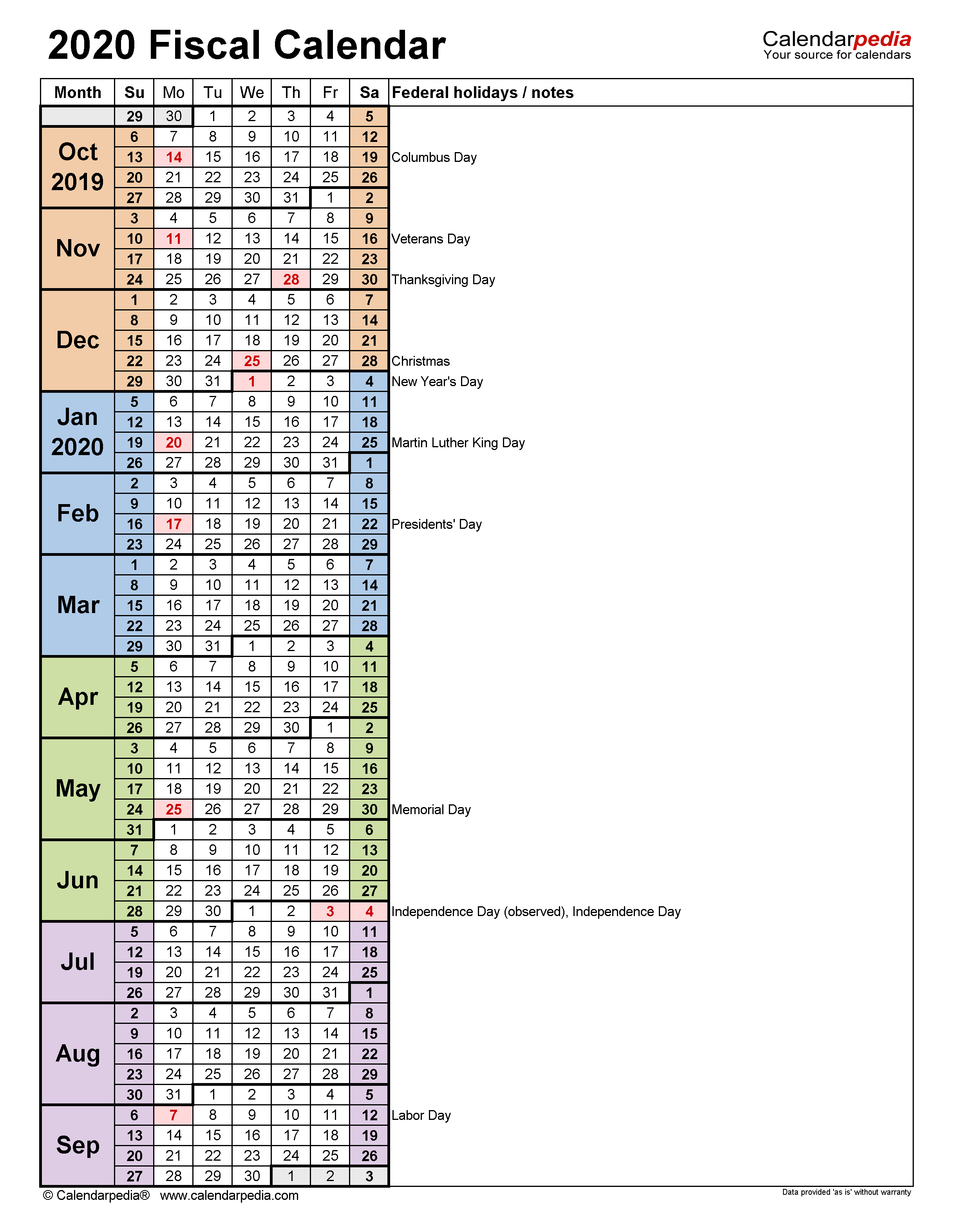 Fiscal Calendars 2020 - Free Printable Pdf Templates in Fiscal Calendar For October 2020