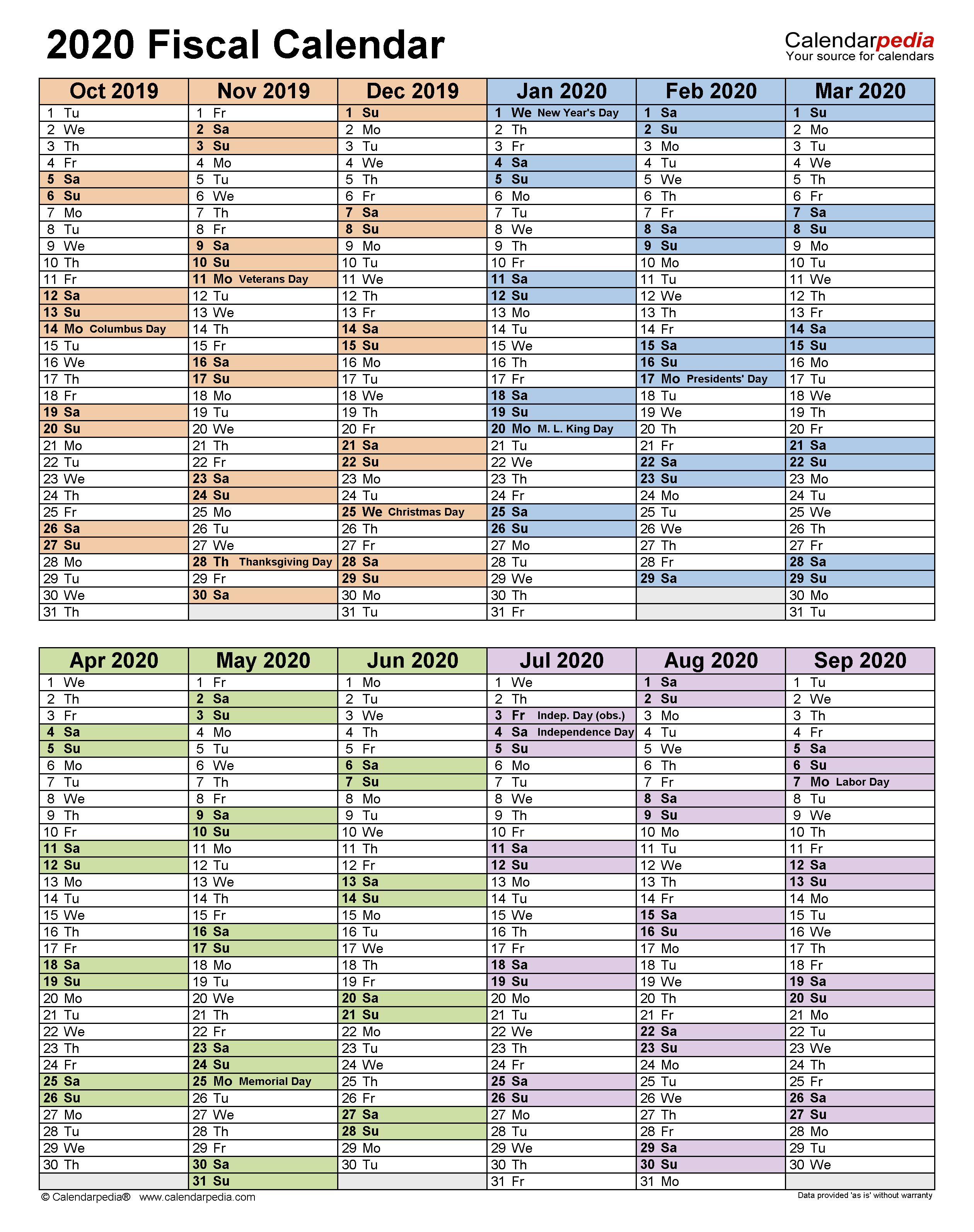 Fiscal Calendars 2020 - Free Printable Pdf Templates intended for Fiscal Calendar For October 2020