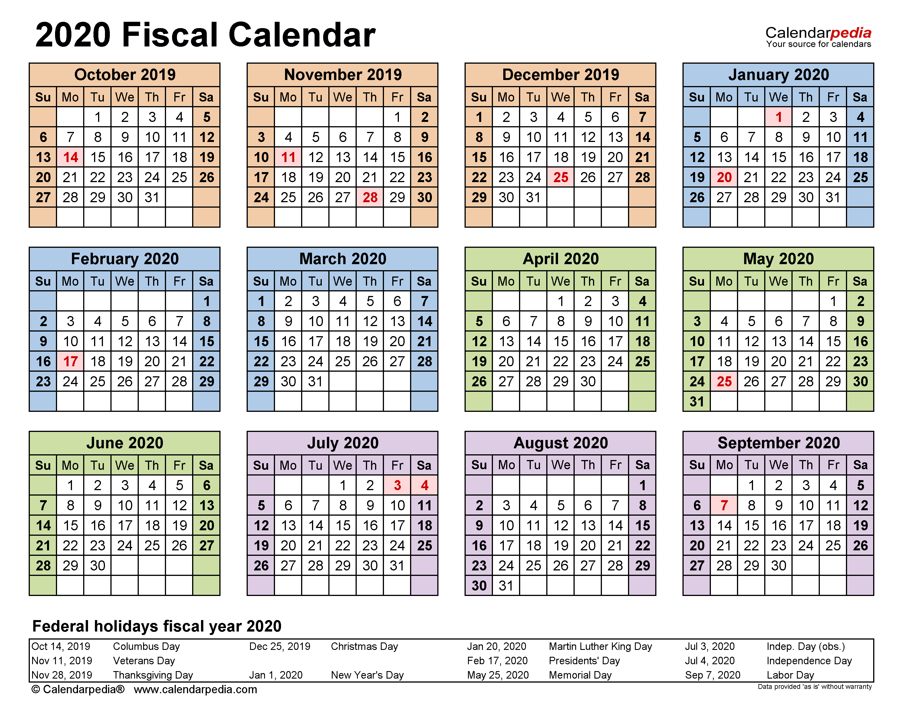Fiscal Calendars 2020 - Free Printable Pdf Templates regarding Fiscal Calendar For October 2020