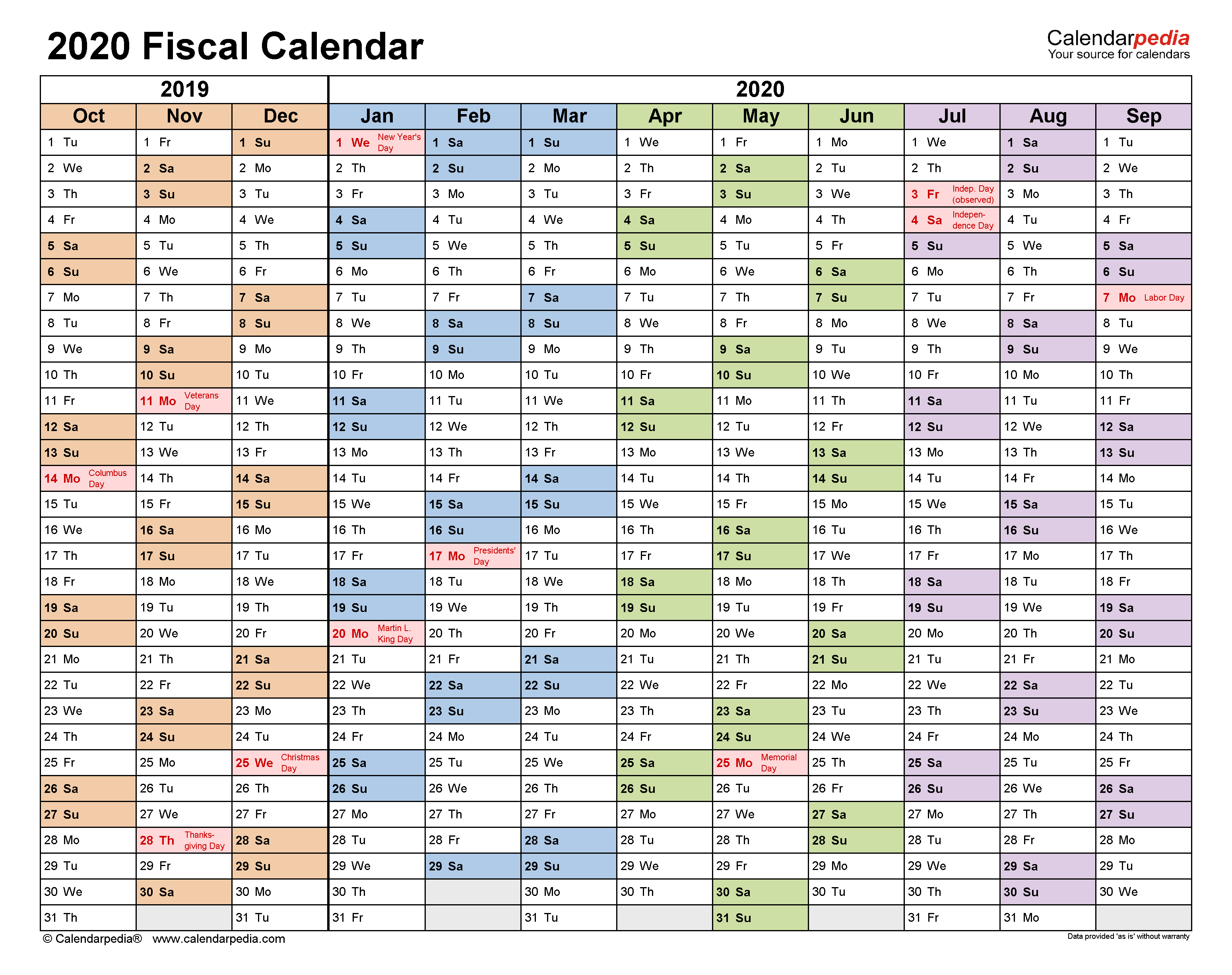 Fiscal Calendars 2020 - Free Printable Pdf Templates throughout Fiscal Calendar For October 2020