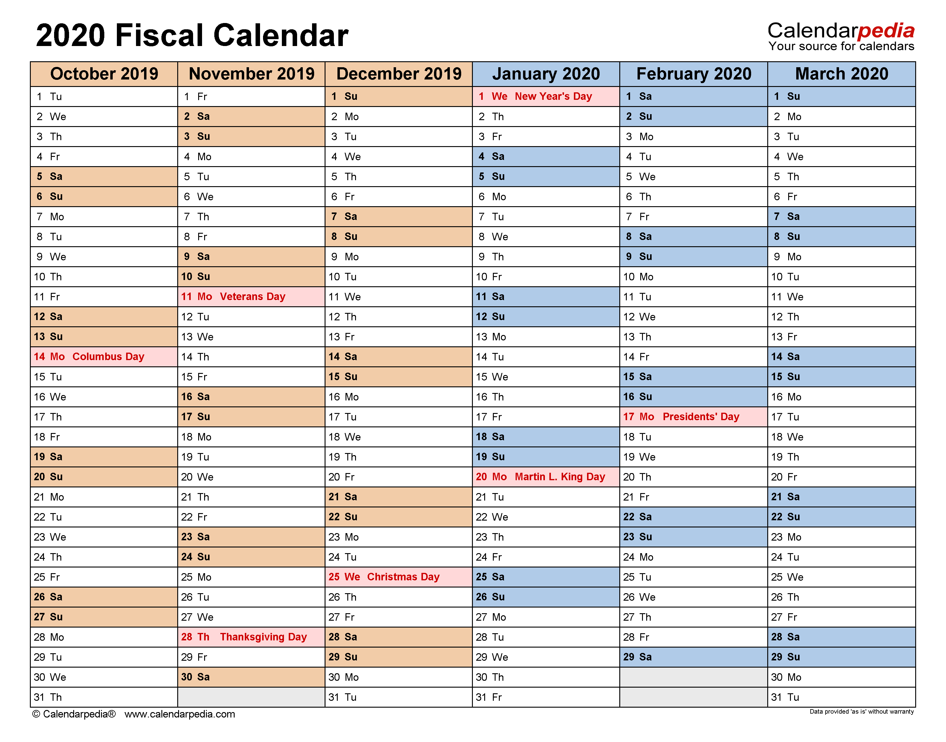 Fiscal Calendars 2020 - Free Printable Pdf Templates with regard to Fiscal Calendar For October 2020